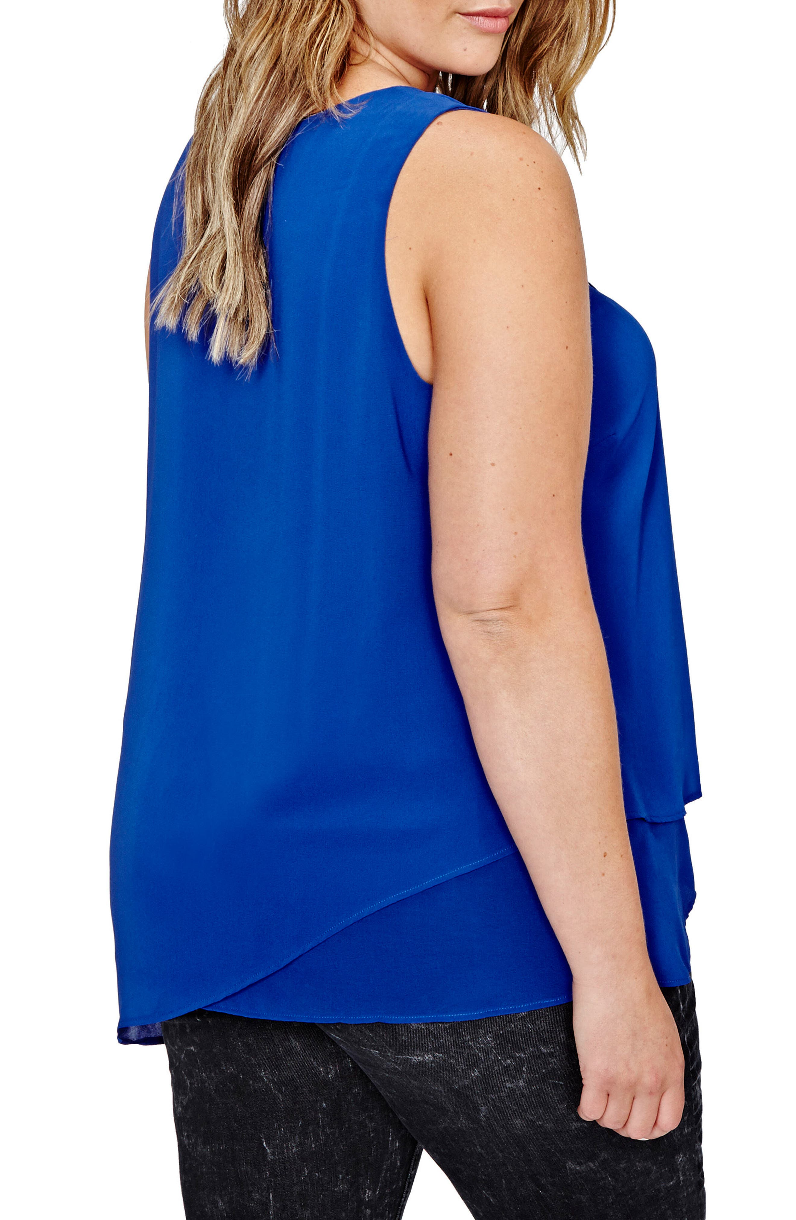 Asymmetrical Lace-Up Tunic,                             Alternate thumbnail 2, color,                             Royal Blue