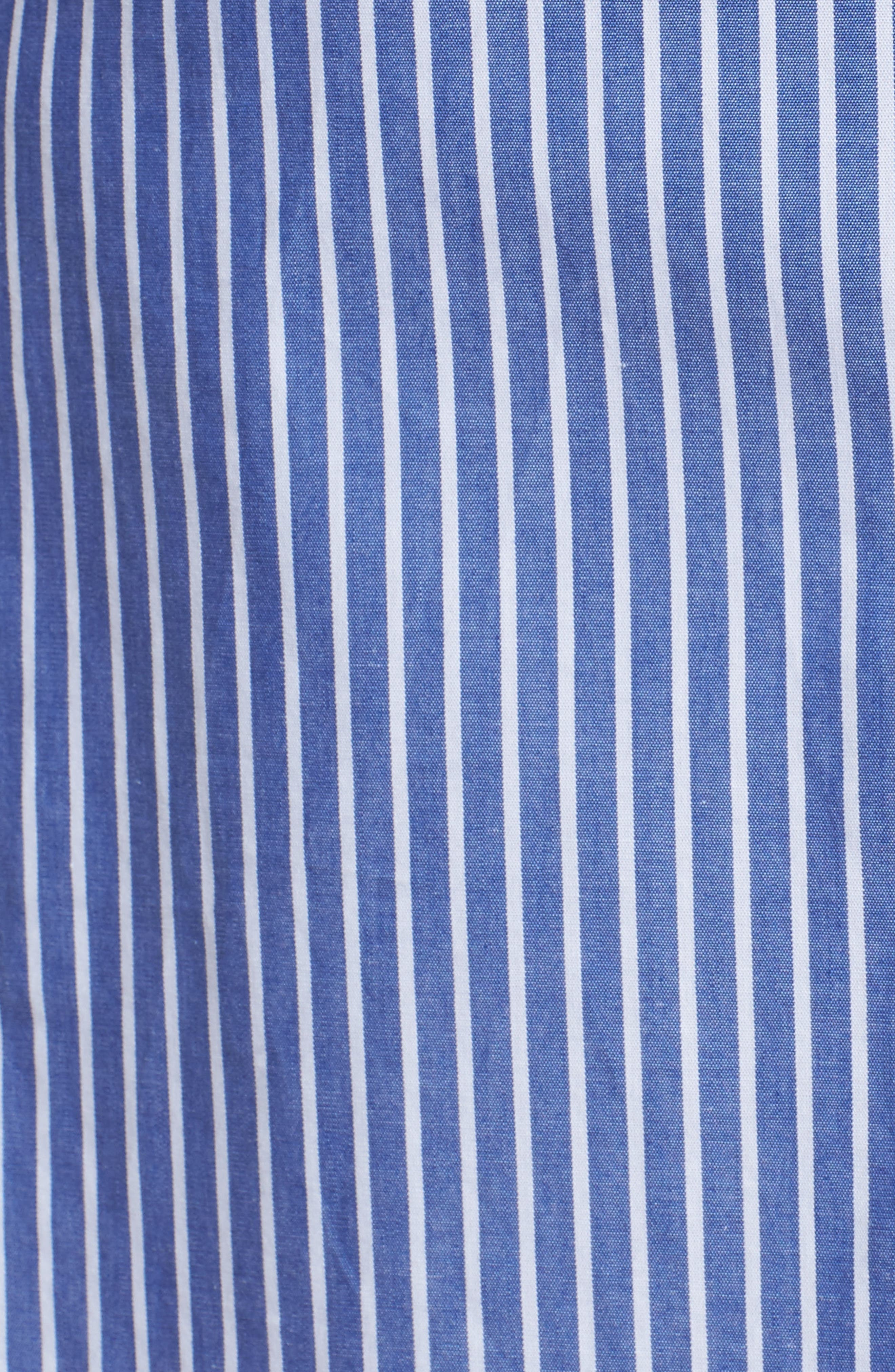 Tie Front Stripe Shirtdress,                             Alternate thumbnail 5, color,                             Blue White Stripe