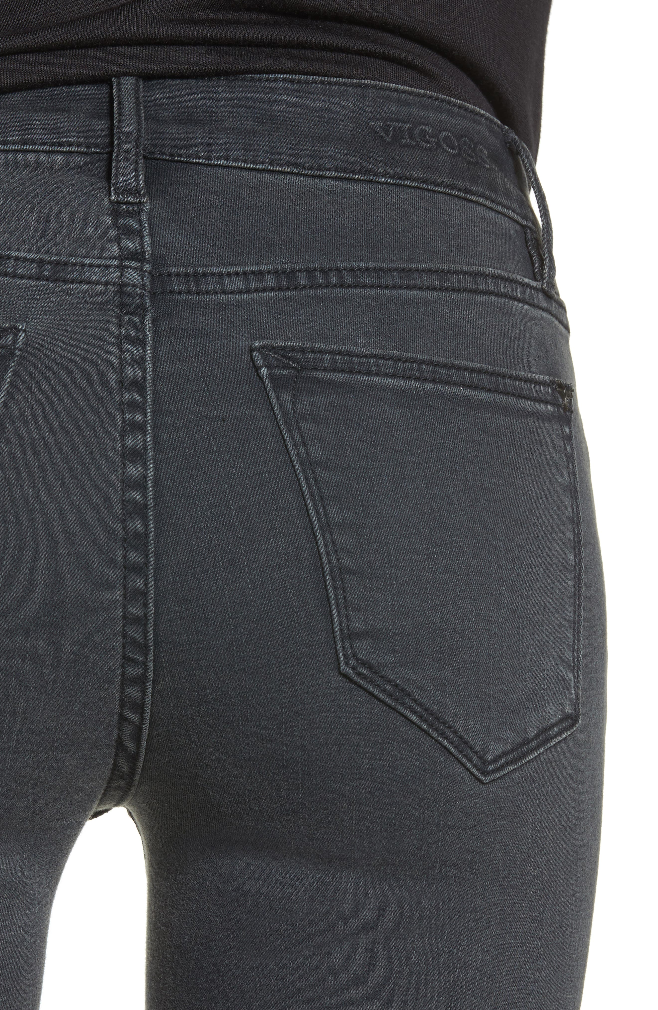 Jagger Front Seam Skinny Jeans,                             Alternate thumbnail 4, color,                             Washed Black