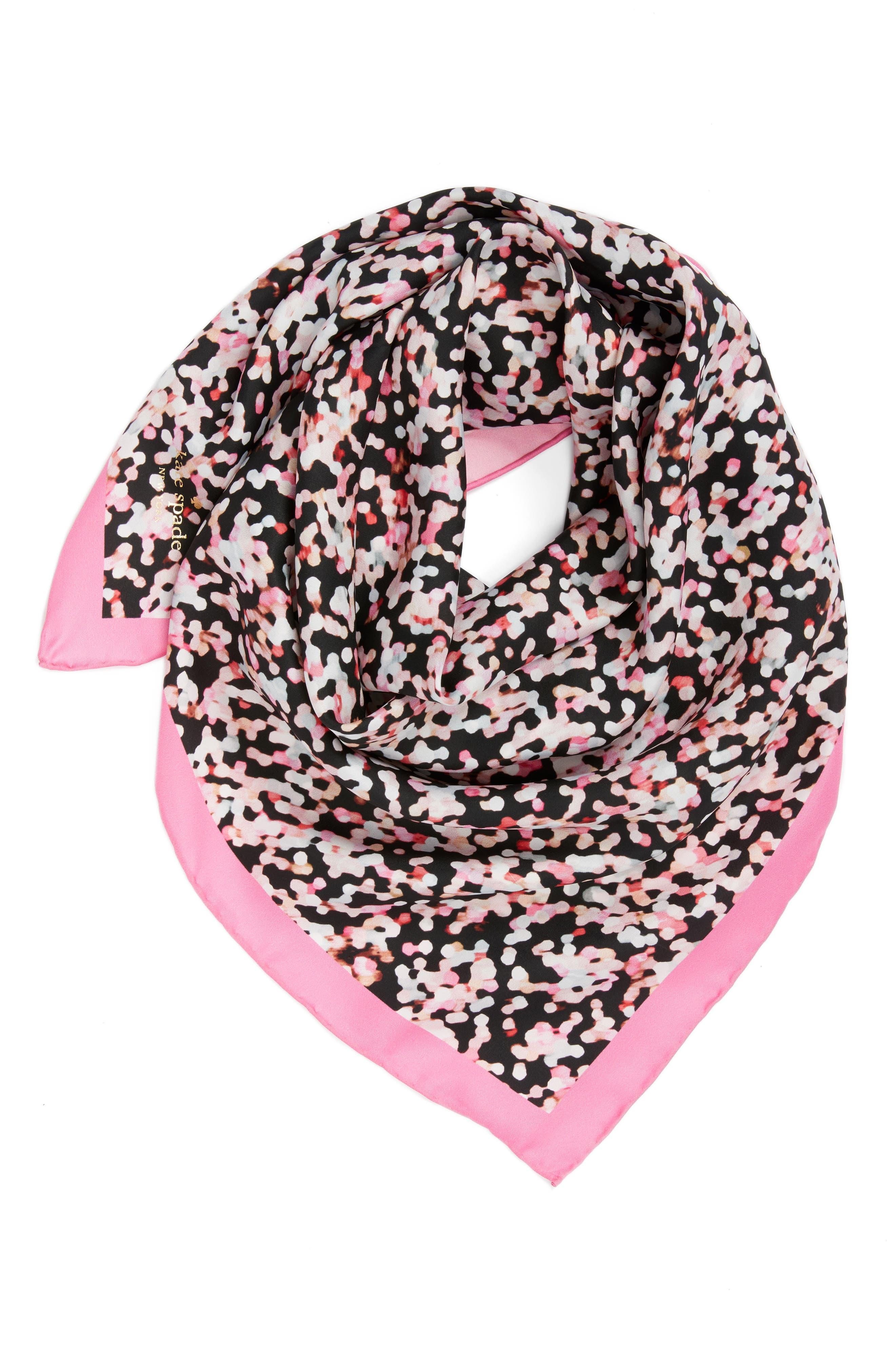 gifting bubbles square silk scarf,                             Alternate thumbnail 4, color,                             Parisian Pink