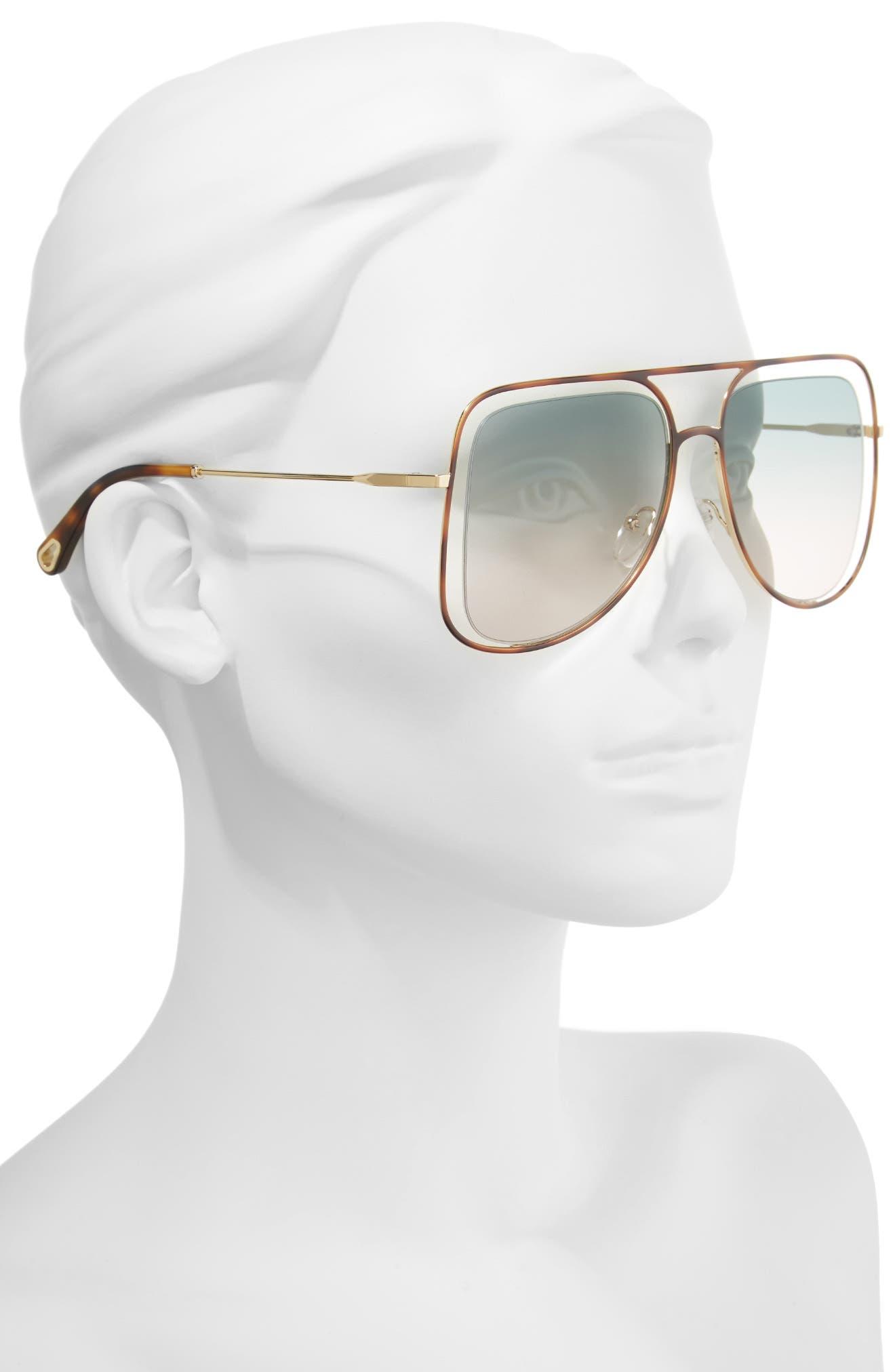 Alternate Image 2  - Chloé 57mm Halo Frame Aviator Sunglasses
