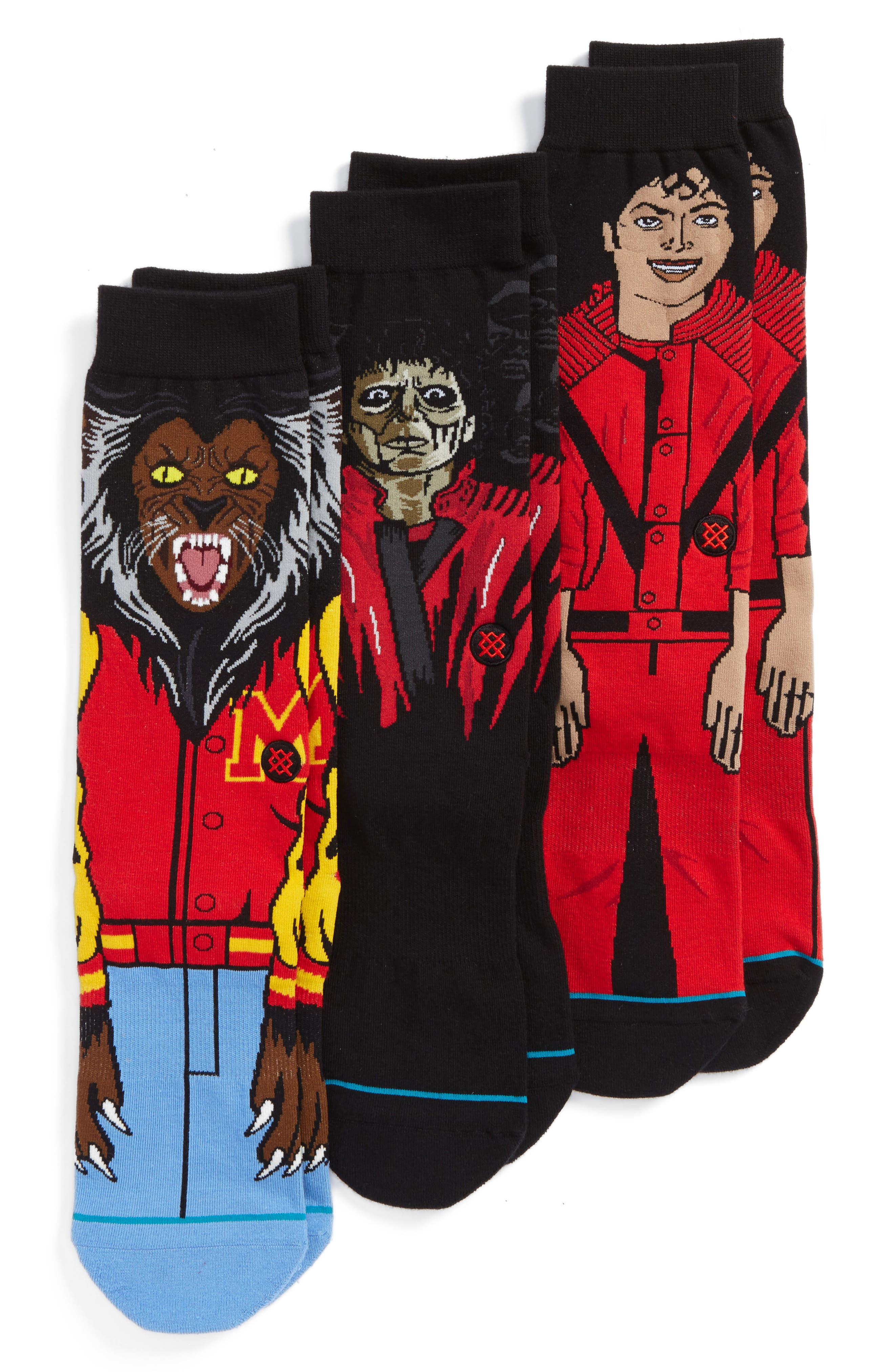 3-Pack Michael Jackson Thriller Socks,                             Main thumbnail 1, color,                             Red Multi