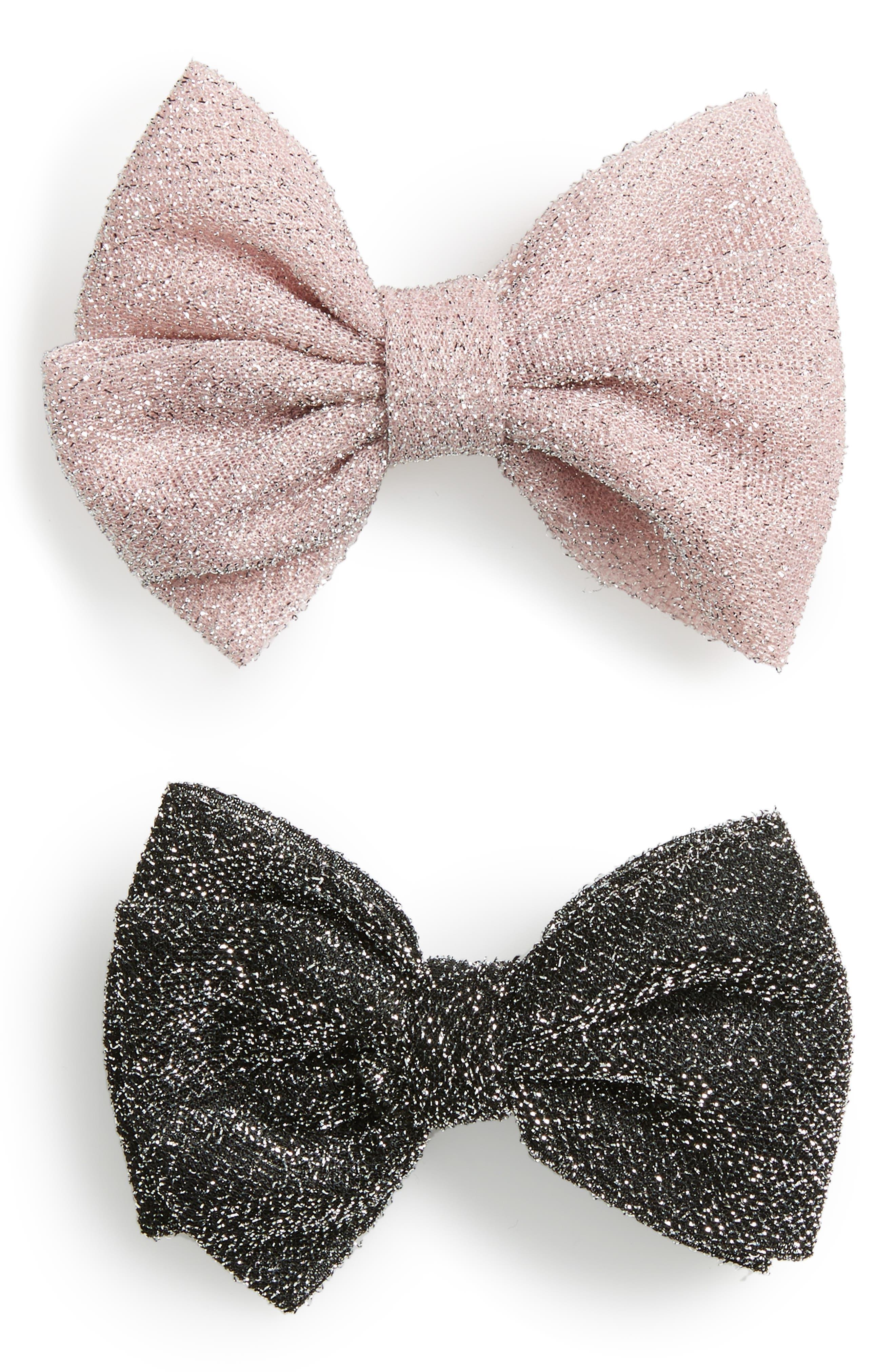 Set of 2 Glitter Bows,                         Main,                         color, Black/Pink