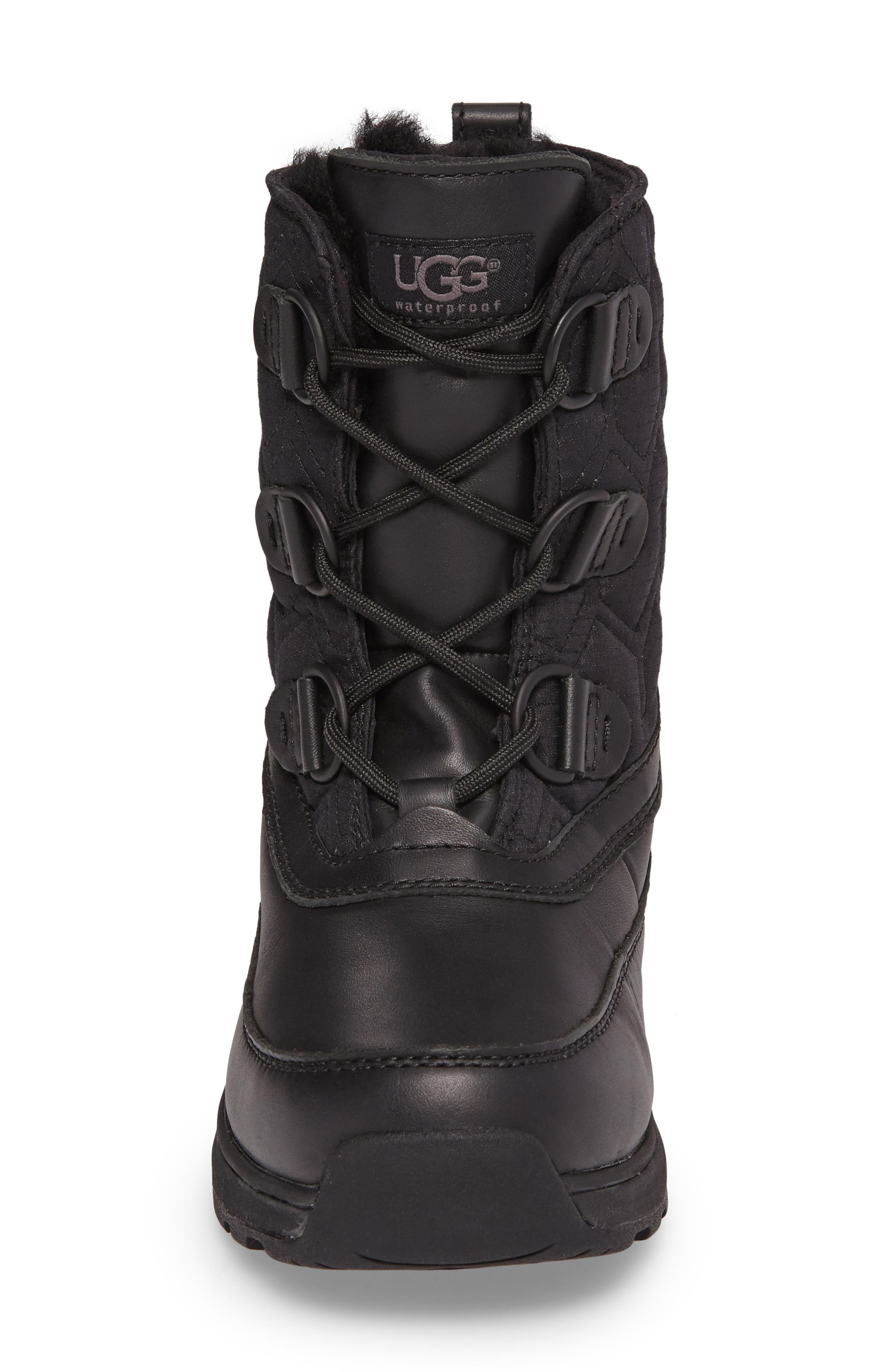 Lachlan Waterproof Insulated Snow Boot,                             Alternate thumbnail 4, color,                             Black Leather