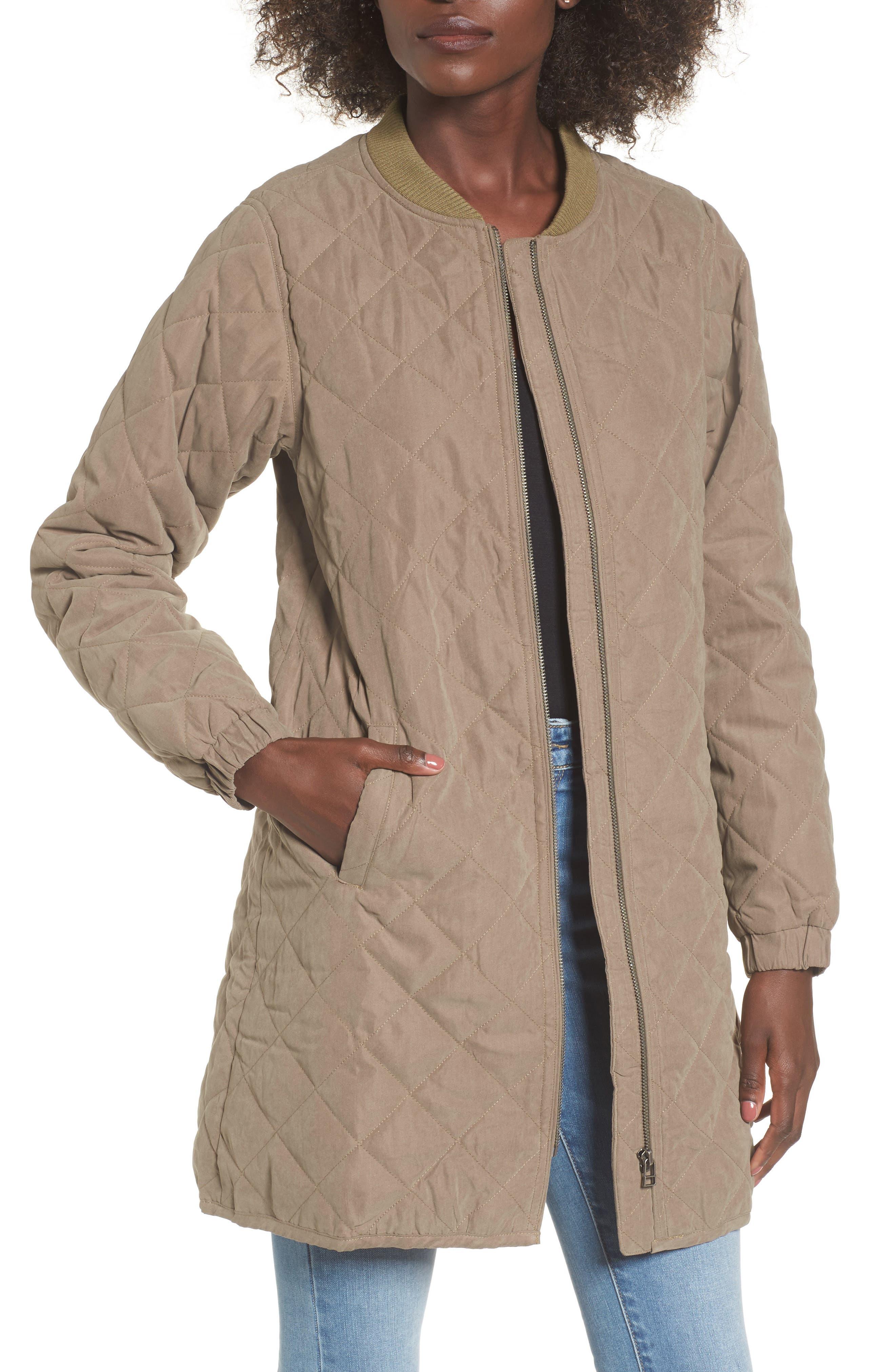 Stone Longline Bomber Jacket,                         Main,                         color, Olive