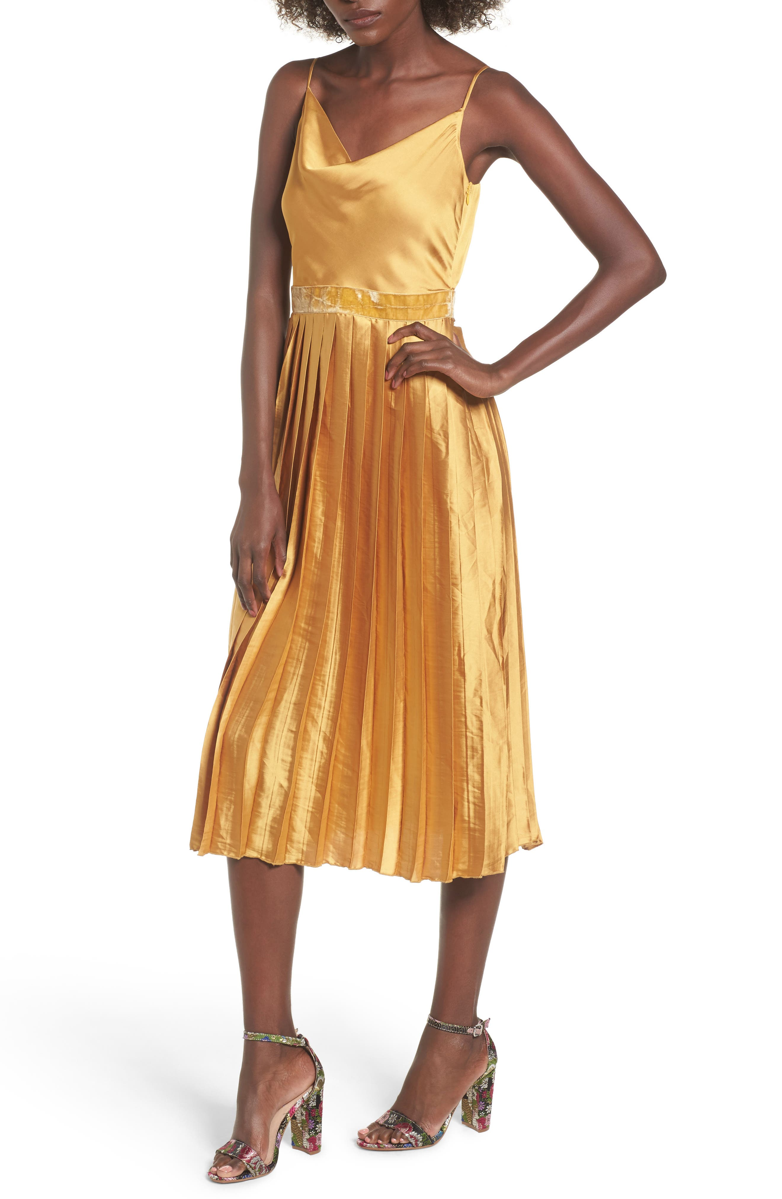 Tularosa Mel Pleated Satin Midi Dress