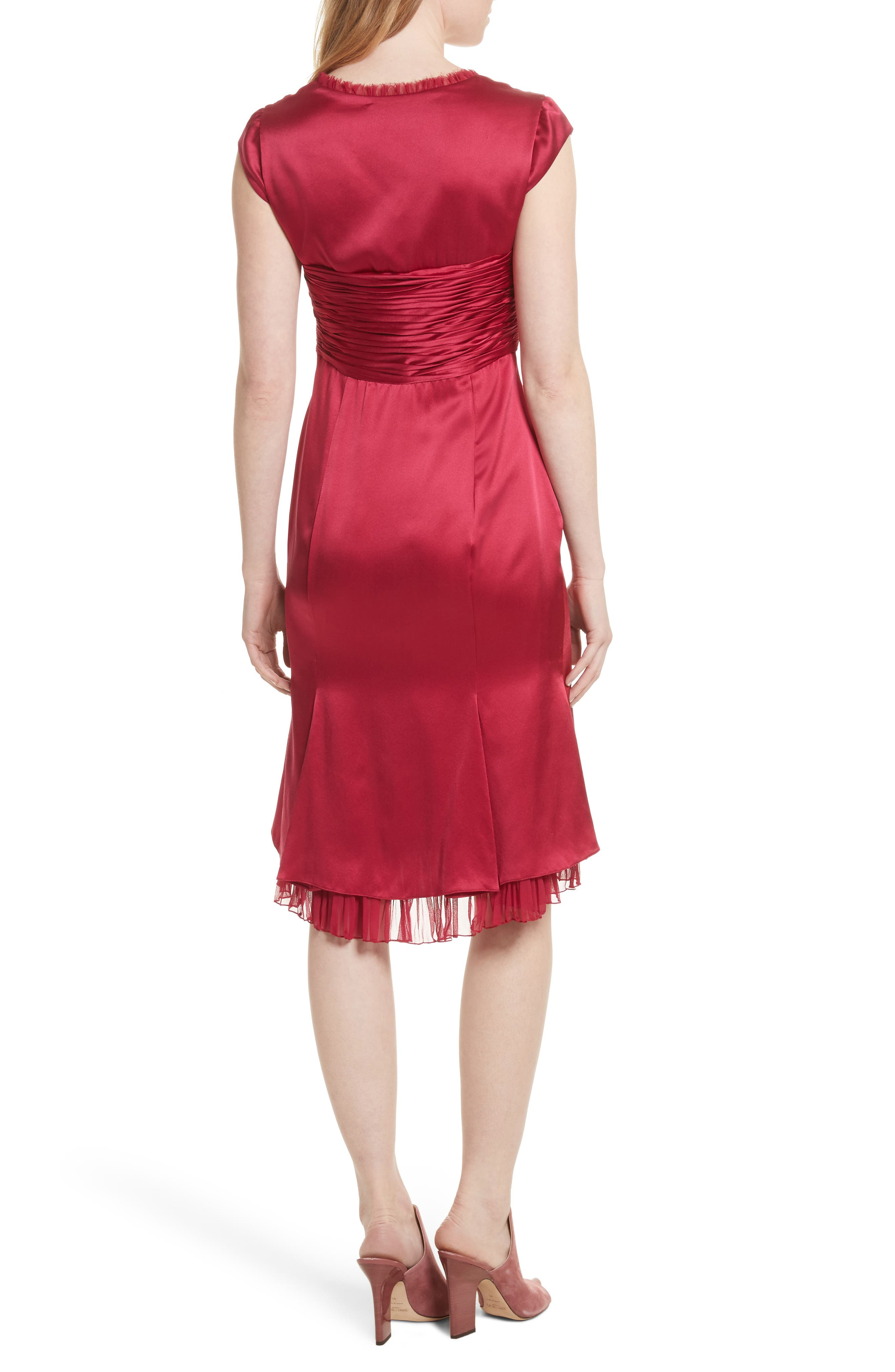 Marnie Satin Dress,                             Alternate thumbnail 2, color,                             Cerise