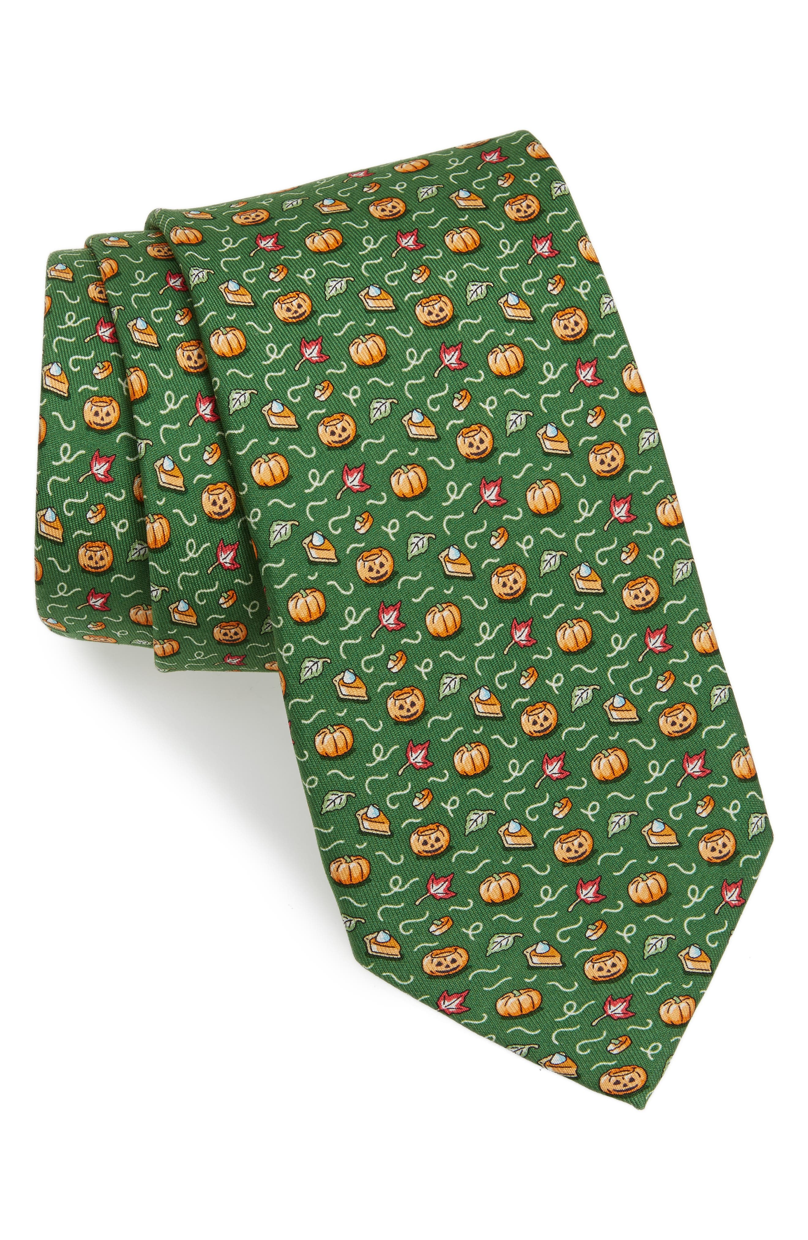 Fall Is in the Air Silk Tie,                             Main thumbnail 1, color,                             Green