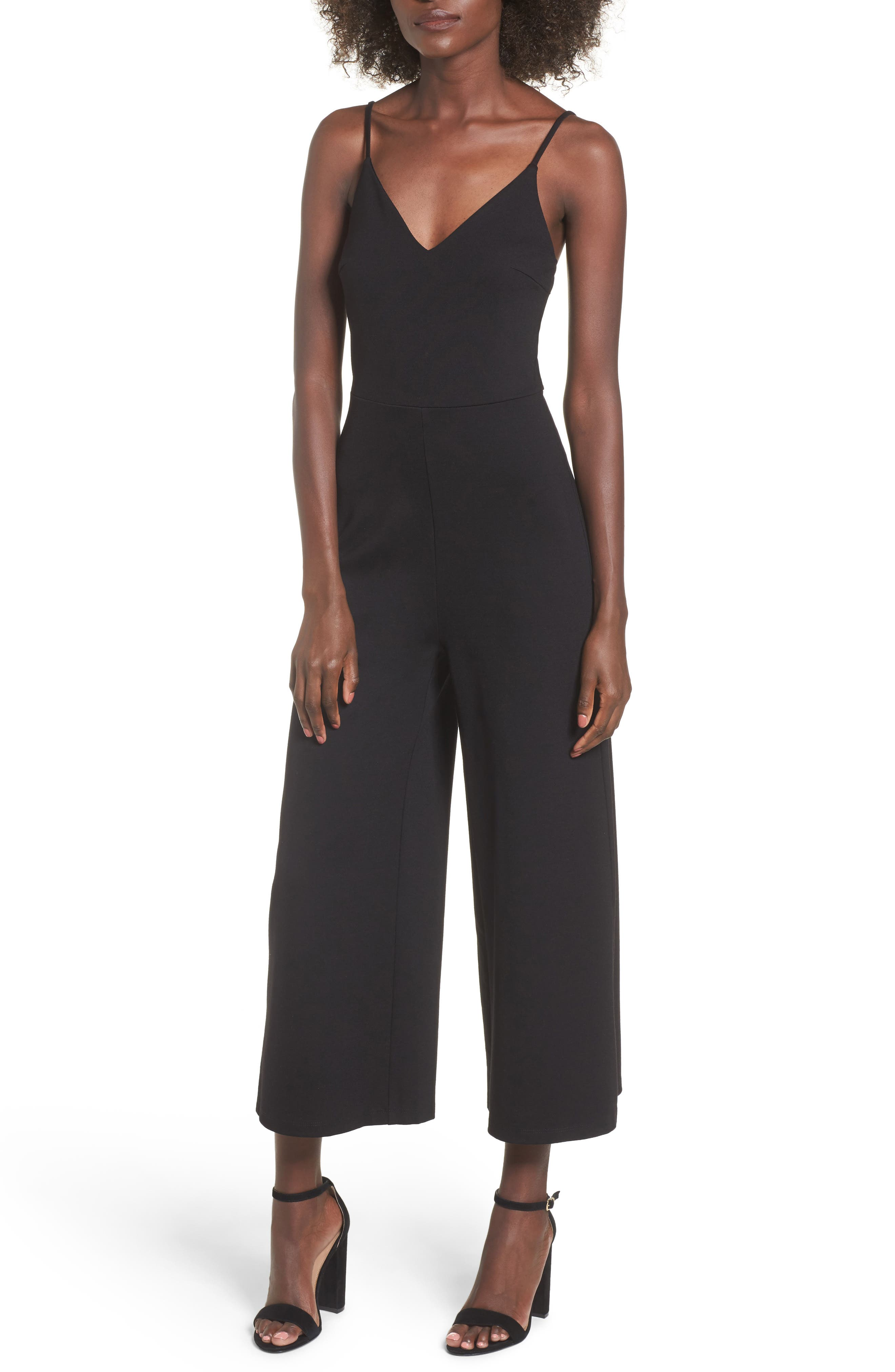 Alternate Image 1 Selected - Soprano Ponte Cropped Jumpsuit