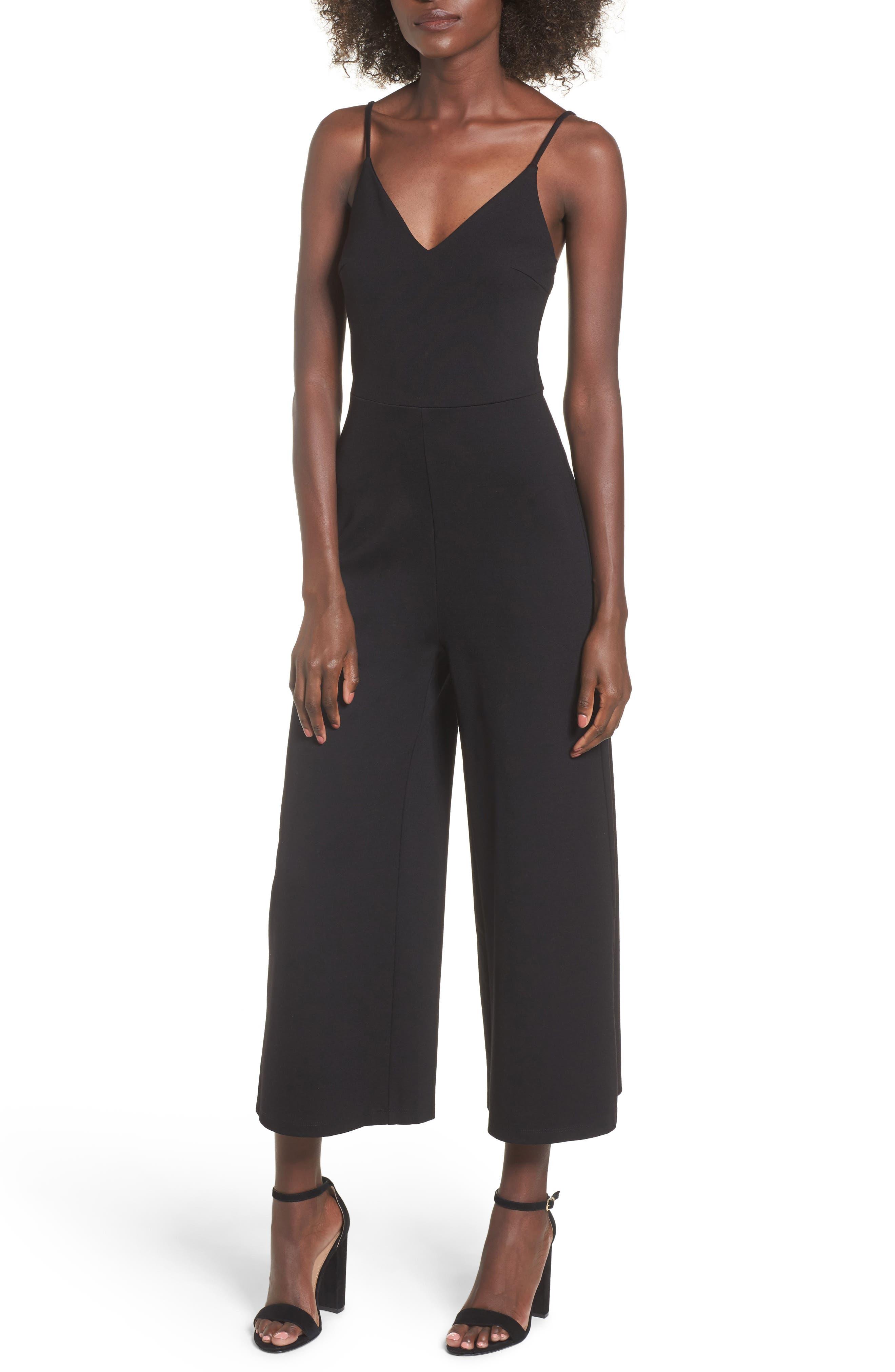 Ponte Cropped Jumpsuit,                         Main,                         color, Black