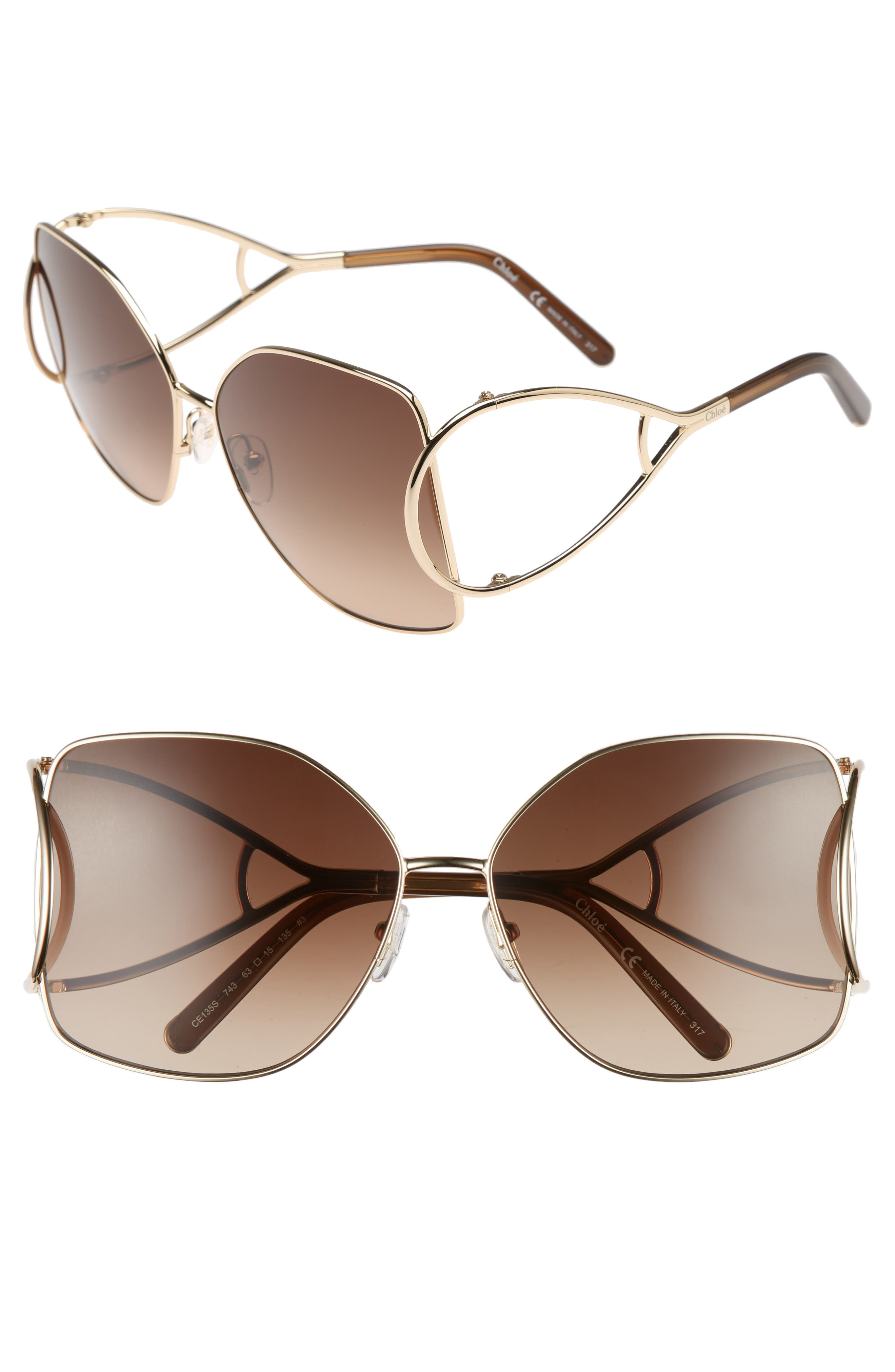 63mm Wrapover Frame Sunglasses,                         Main,                         color, Gold/ Brown