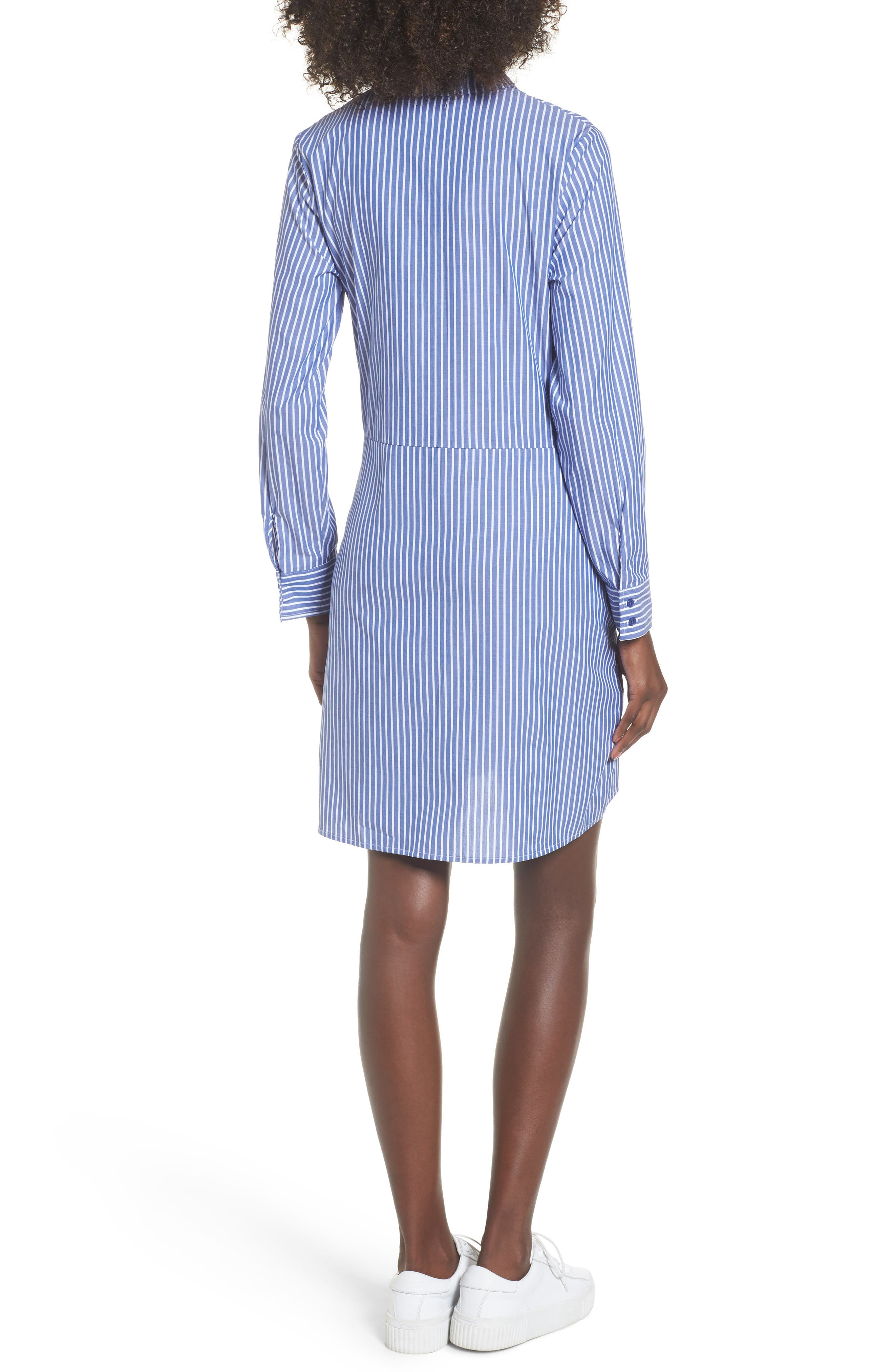 Tie Front Stripe Shirtdress,                             Alternate thumbnail 2, color,                             Blue White Stripe