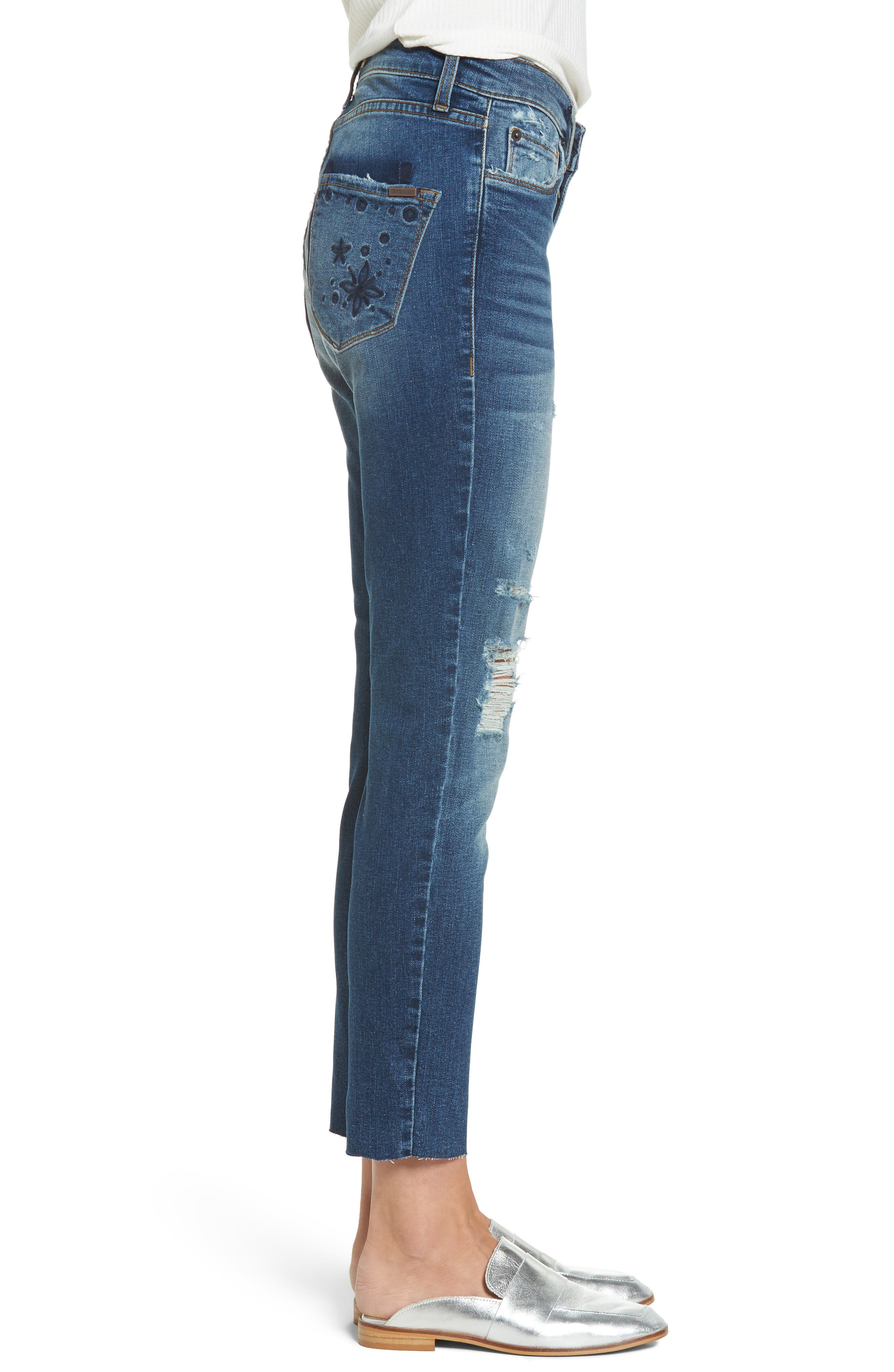 Taylor Distressed and Embroidered Straight Leg Jeans,                             Alternate thumbnail 3, color,                             Rosedale