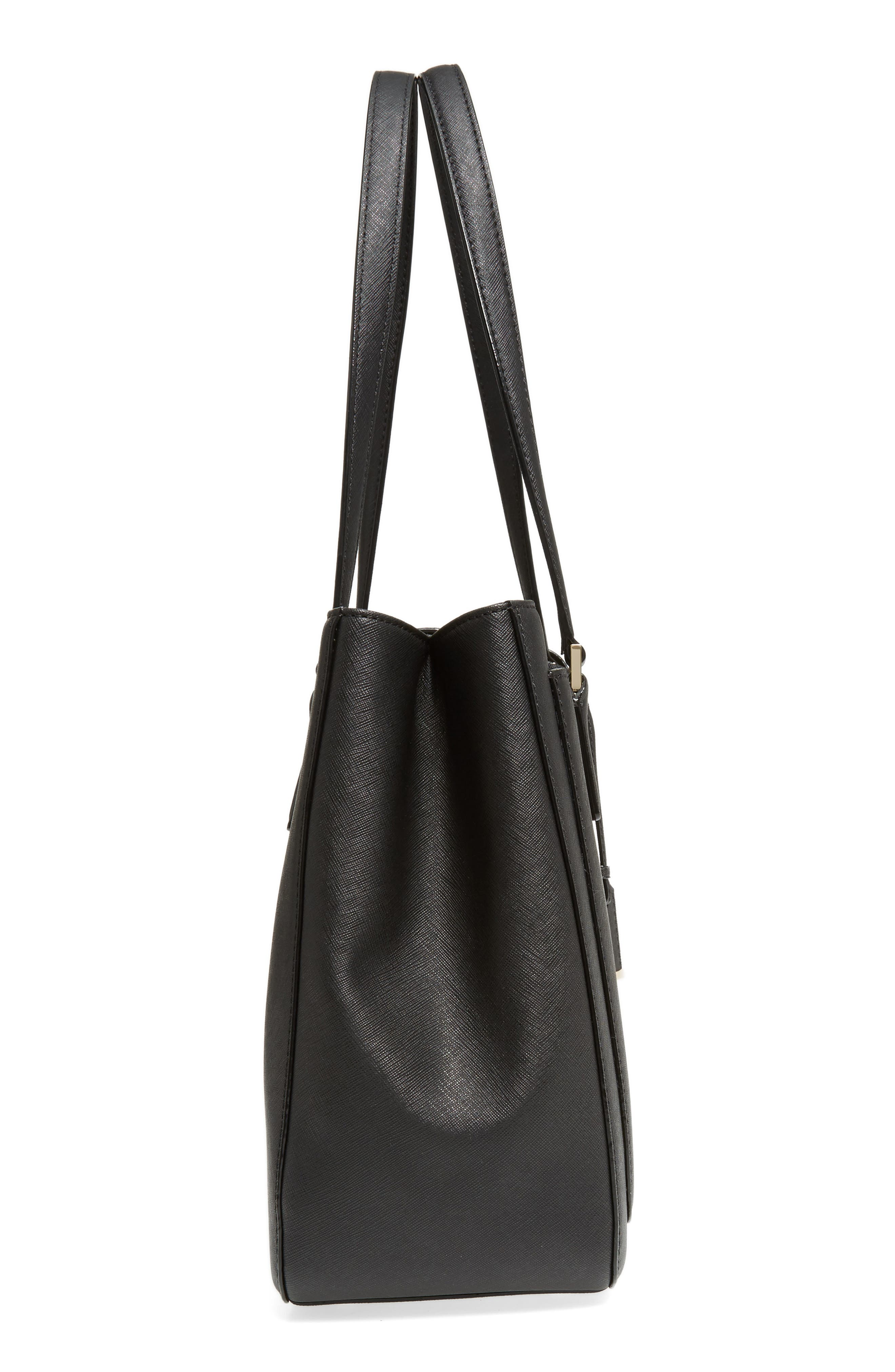 cameron street - zooey leather tote,                             Alternate thumbnail 5, color,                             Black