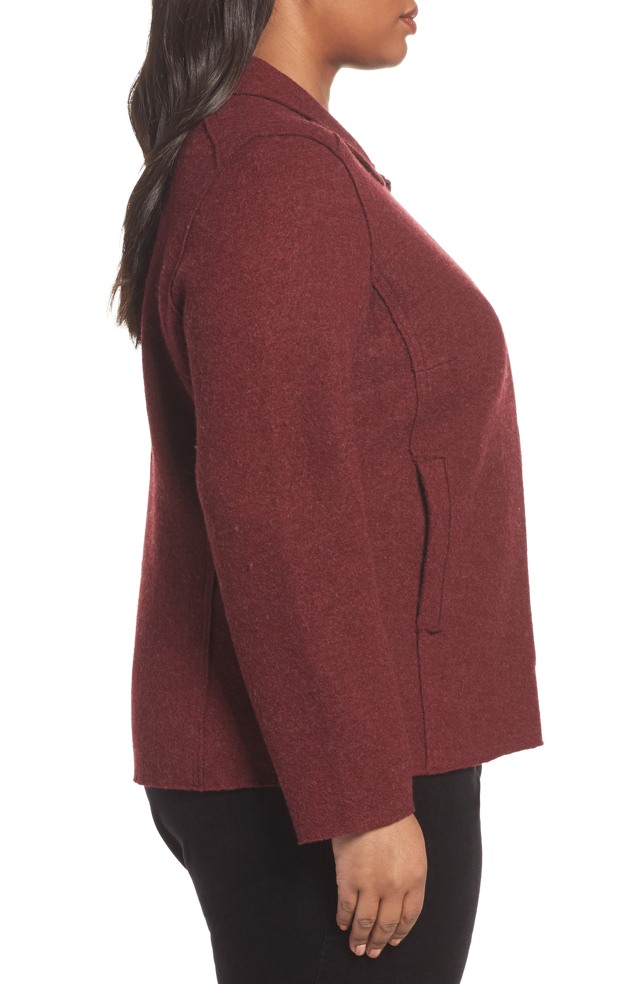Boiled Wool Moto Jacket,                             Alternate thumbnail 3, color,                             Red