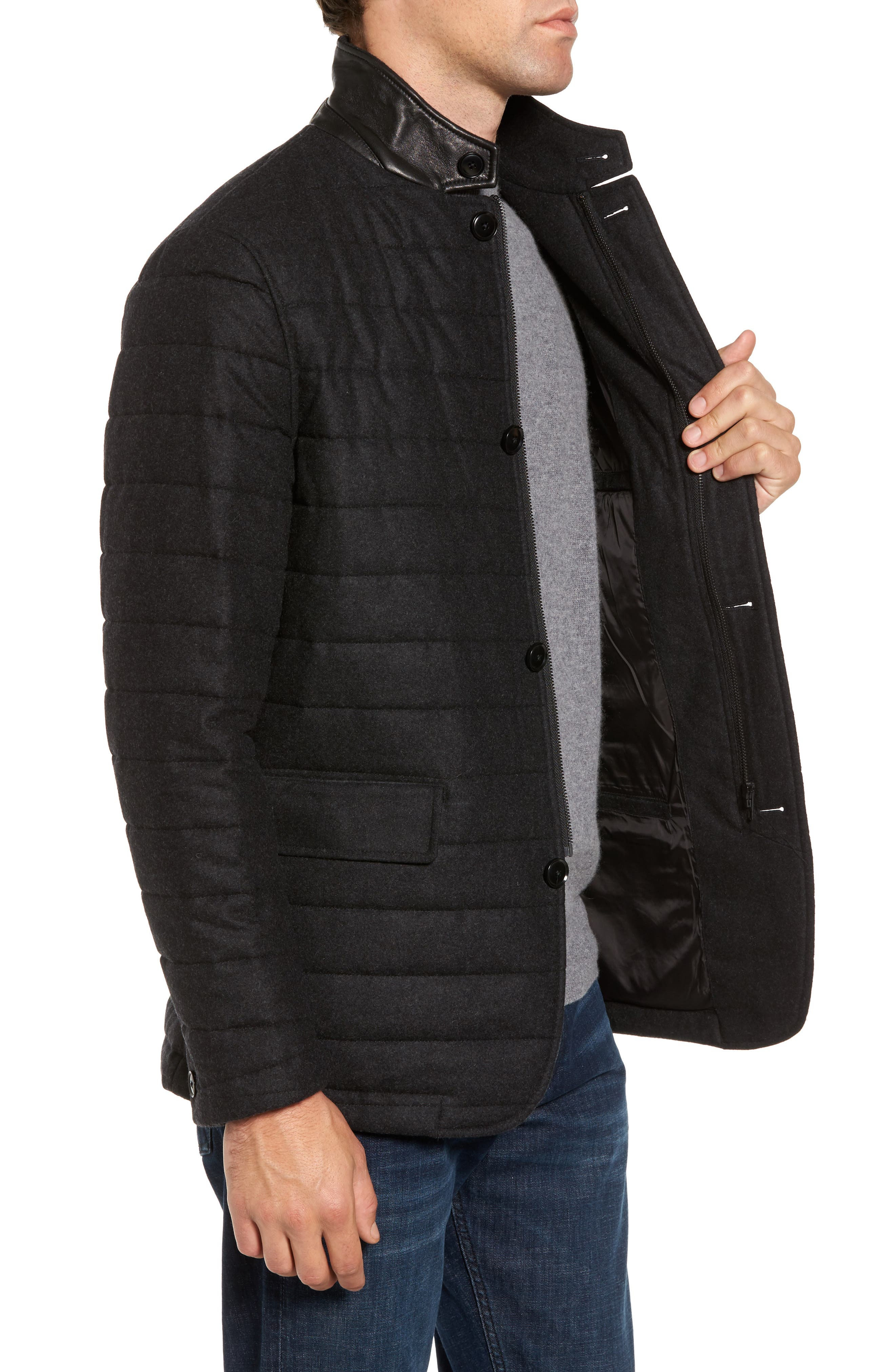 Leighton Place Padded Field Coat,                             Alternate thumbnail 3, color,                             Coal