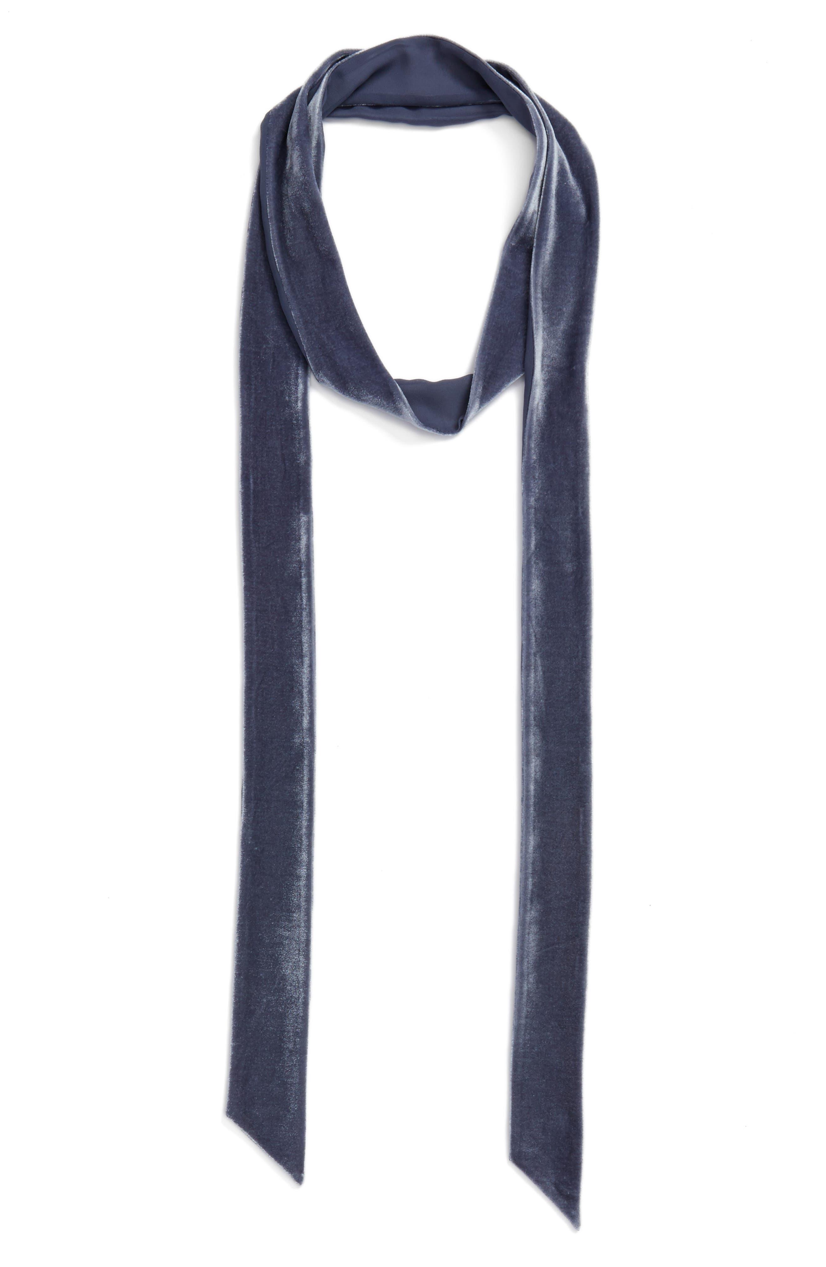 Velvet Skinny Scarf,                         Main,                         color, Grey Folkstone