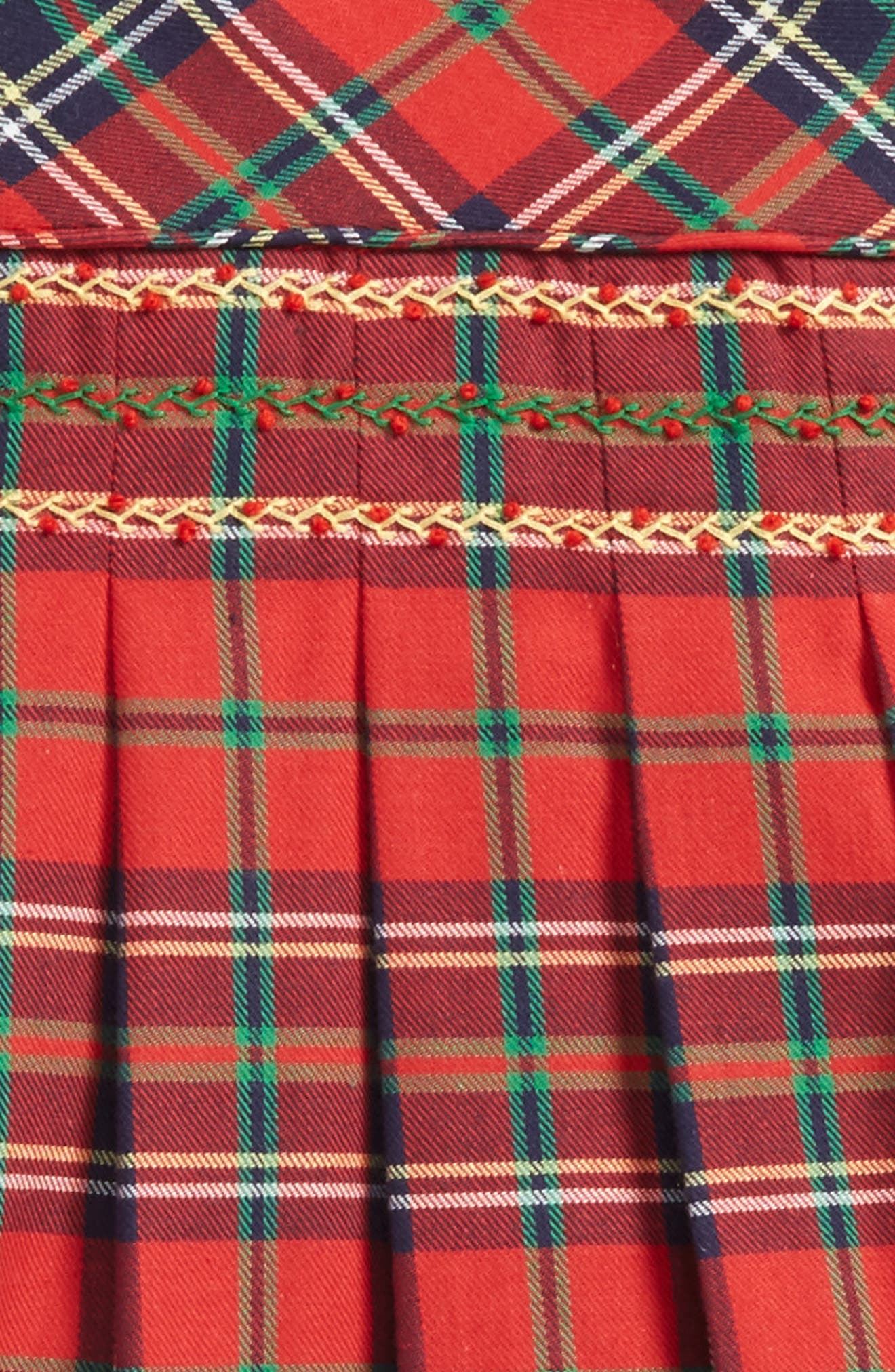 Plaid Pleated Dress,                             Alternate thumbnail 2, color,                             Red