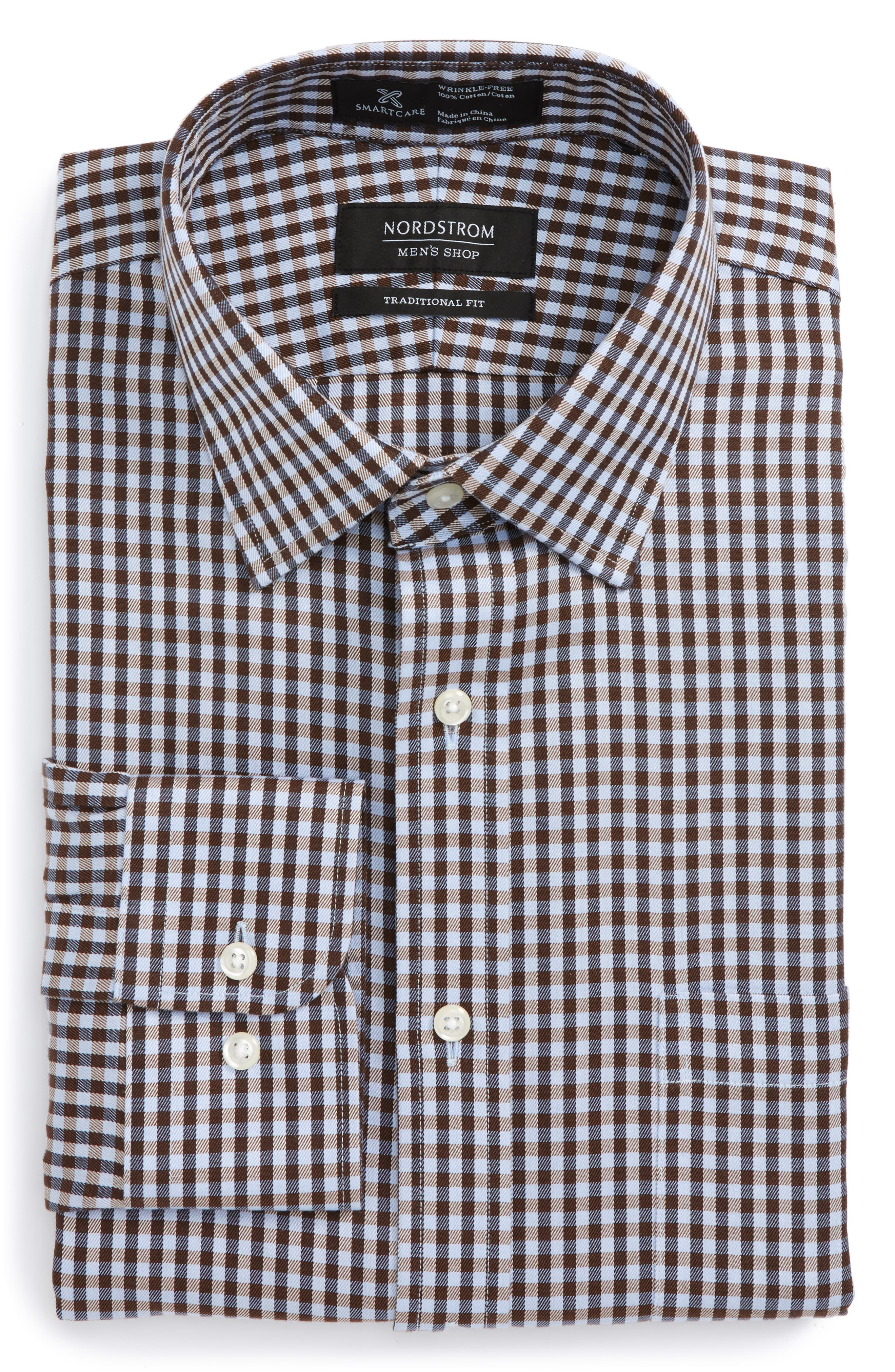 Smartcare<sup>™</sup> Traditional Fit Check Dress Shirt,                         Main,                         color, Brown Terra