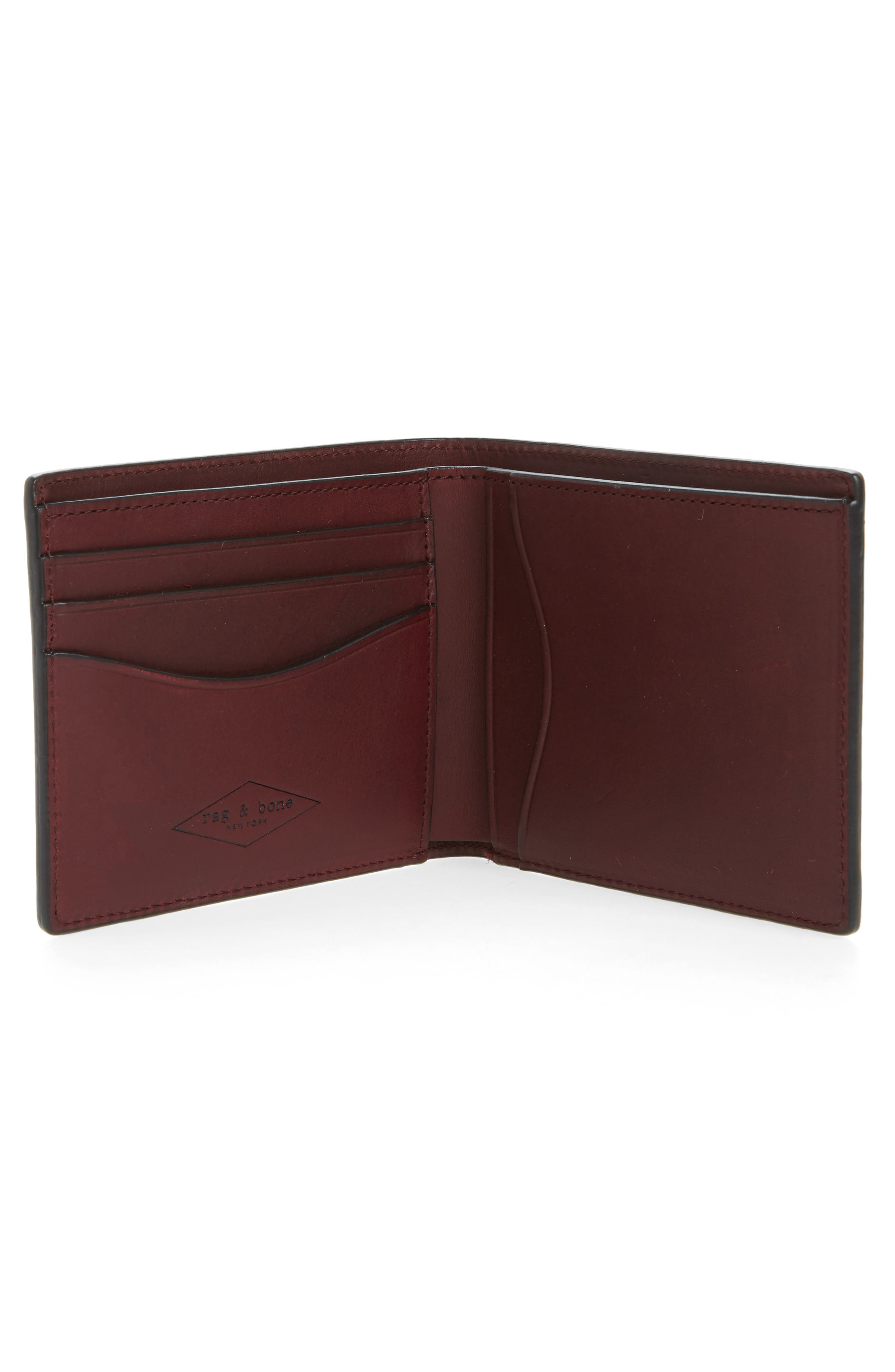 Hampshire Bifold Leather Wallet,                             Alternate thumbnail 2, color,                             Ox Blood