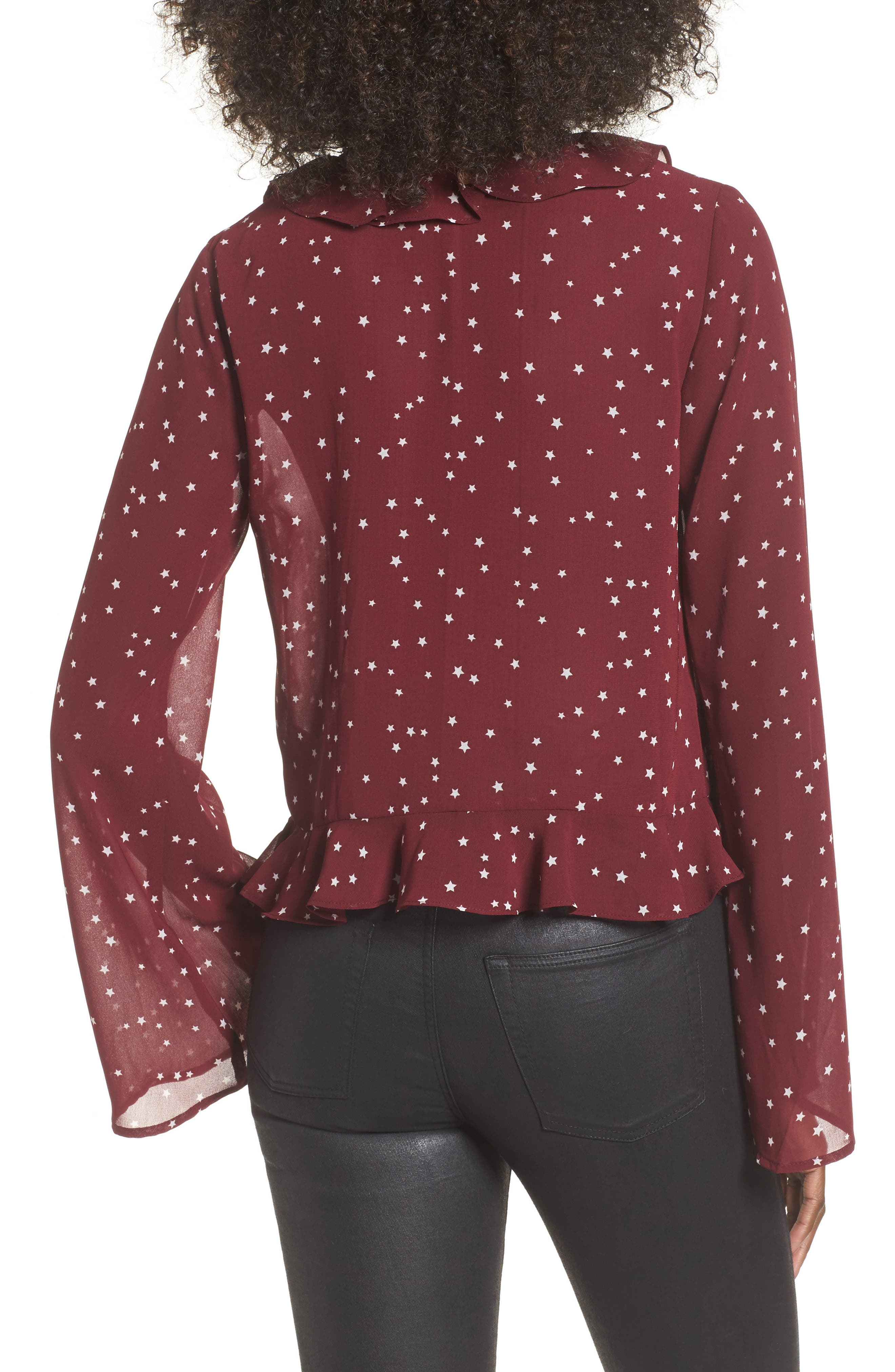 Star Print Ruffle Lace-Up Top,                             Alternate thumbnail 2, color,                             Burgundy Star