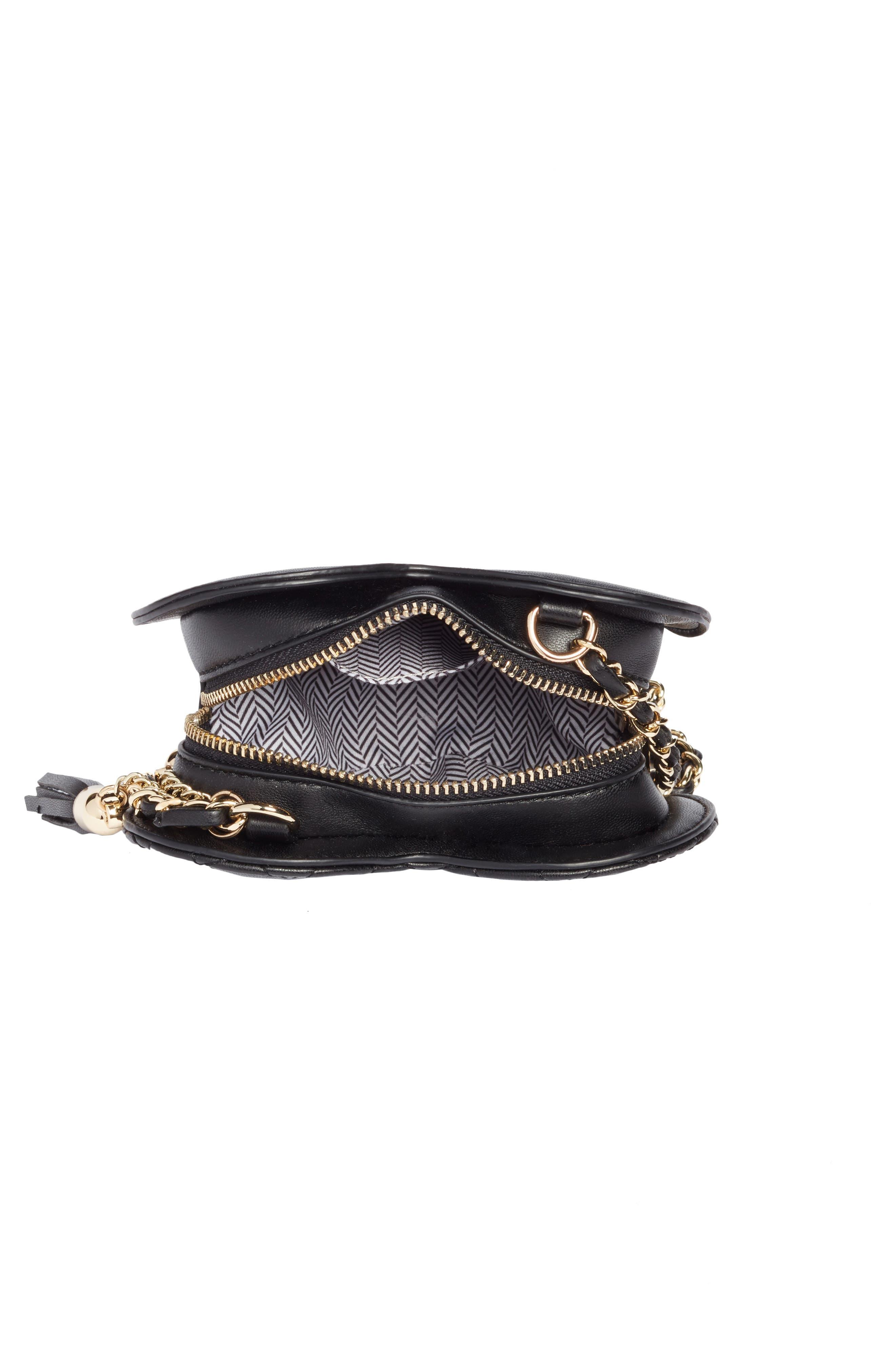 Mali + Lili Quilted Heart Vegan Leather Crossbody Bag,                             Alternate thumbnail 4, color,                             Black