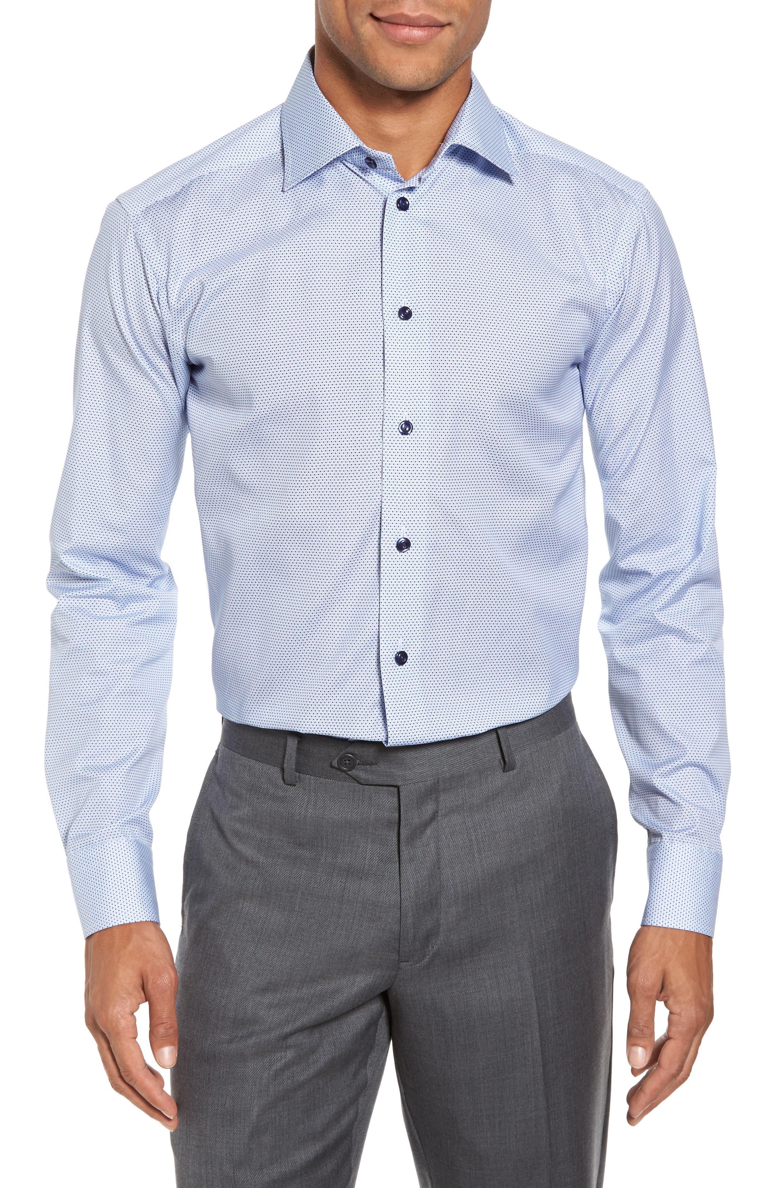 Slim Fit Microprint Dress Shirt,                             Alternate thumbnail 2, color,                             Blue