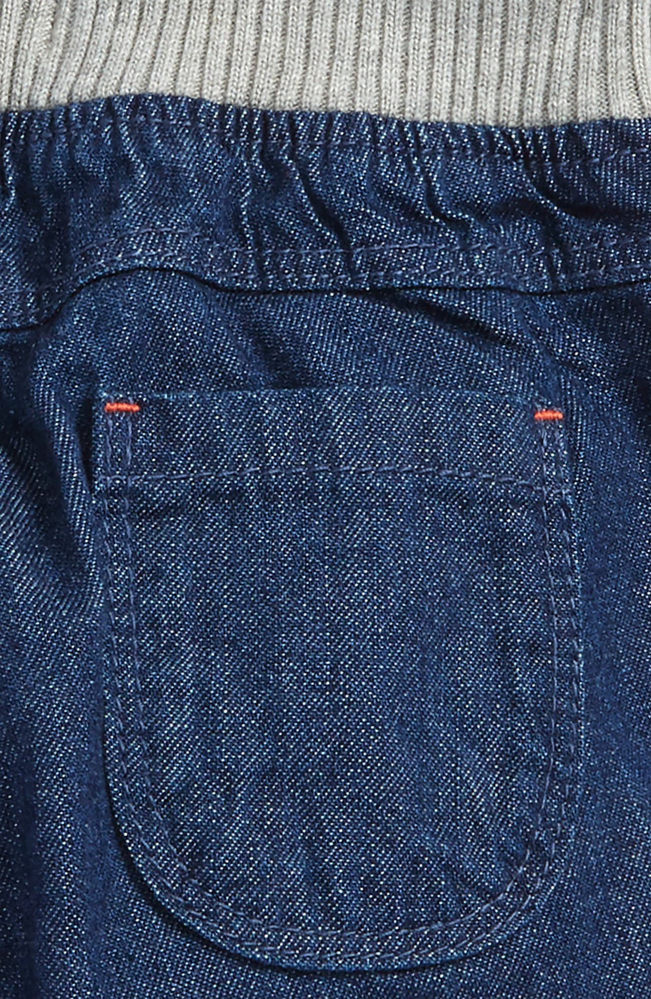 Rib Waist Pants,                             Alternate thumbnail 3, color,                             Mid Denim