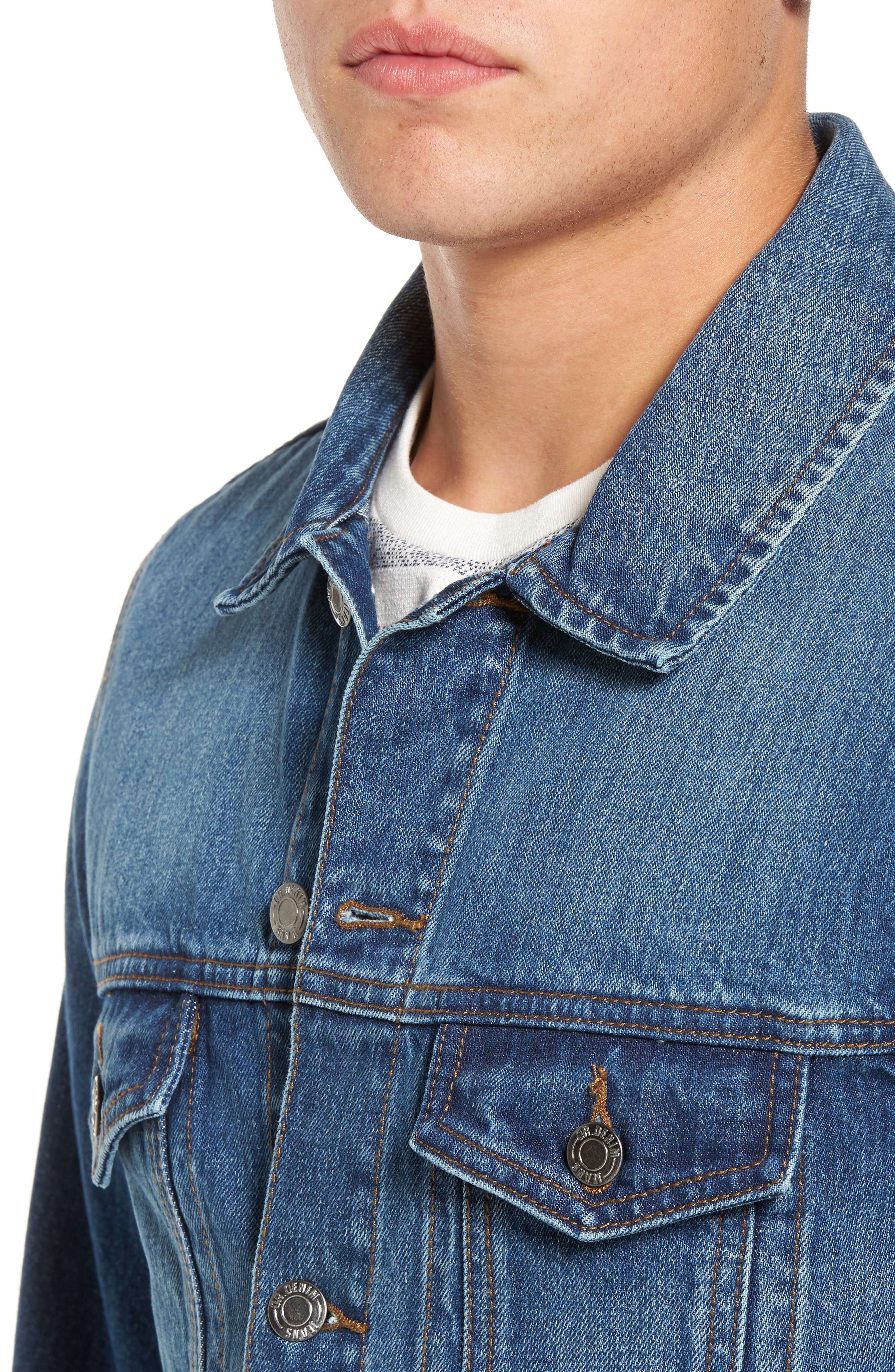 Dwight Denim Jacket,                             Alternate thumbnail 4, color,                             Worn Mid Blue