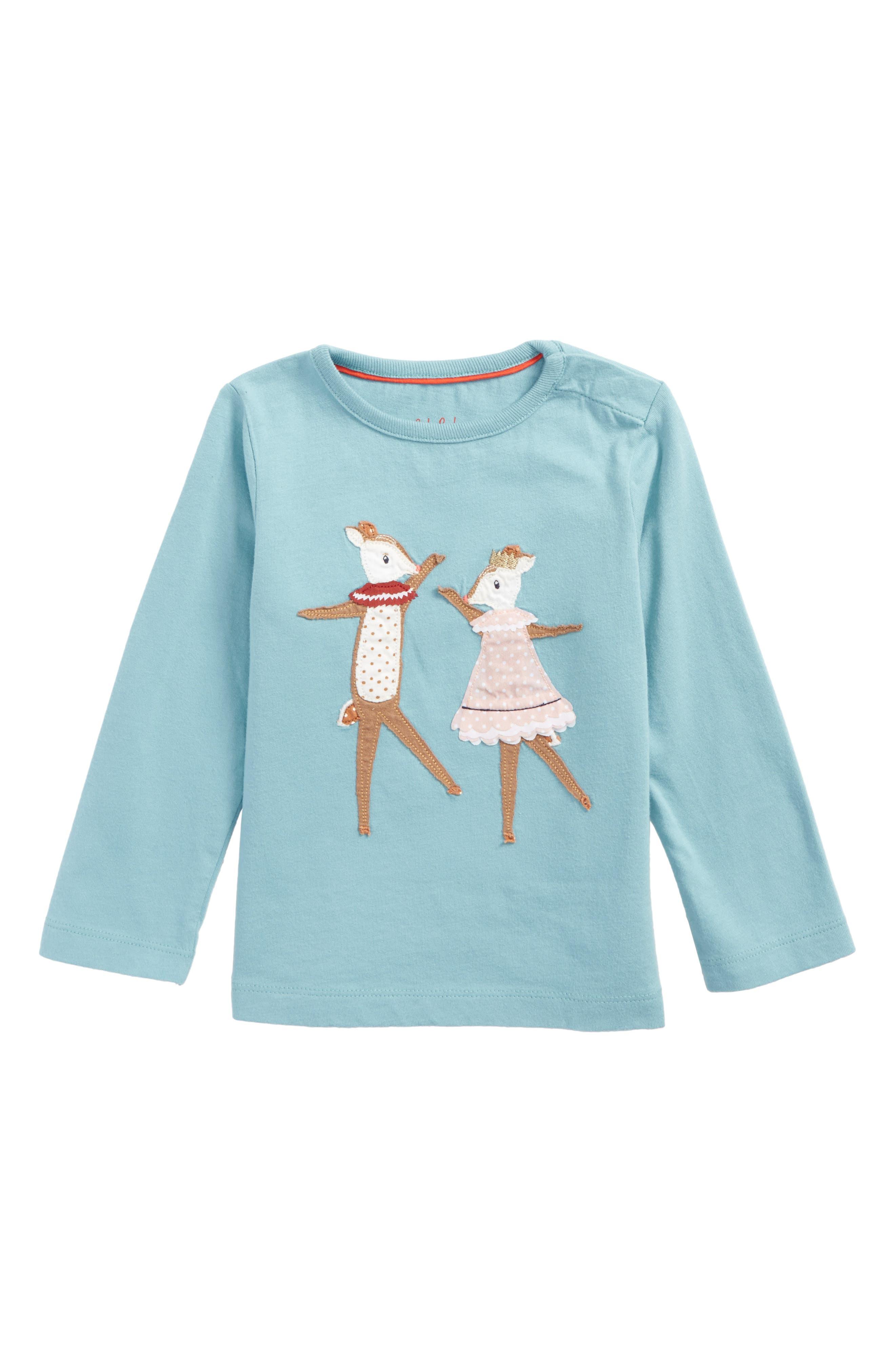 Main Image - Mini Boden Fairy Tale Friends Appliqué Tee (Baby Girls)