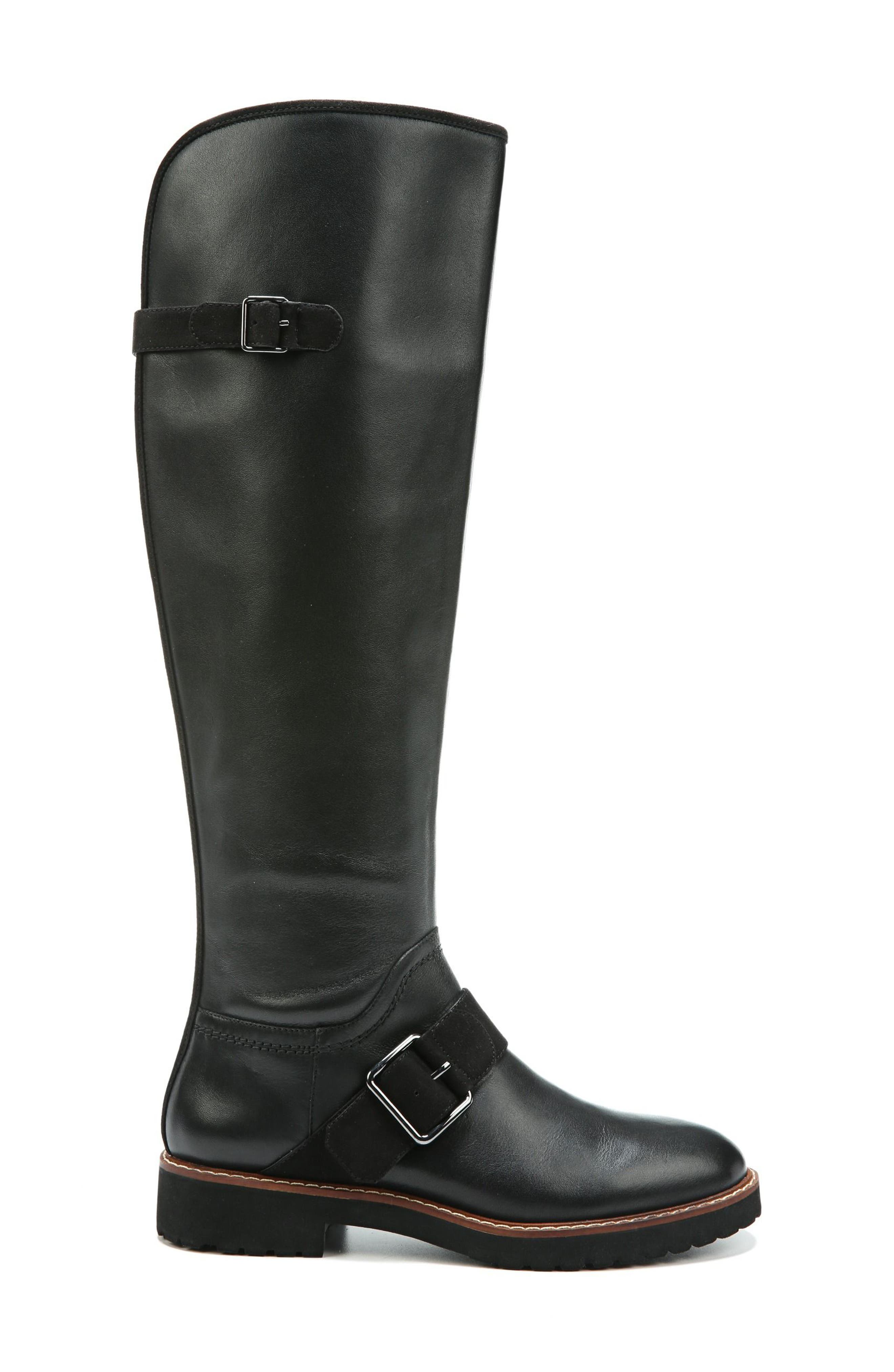 Cutler Riding Boot,                             Alternate thumbnail 3, color,                             Black Leather