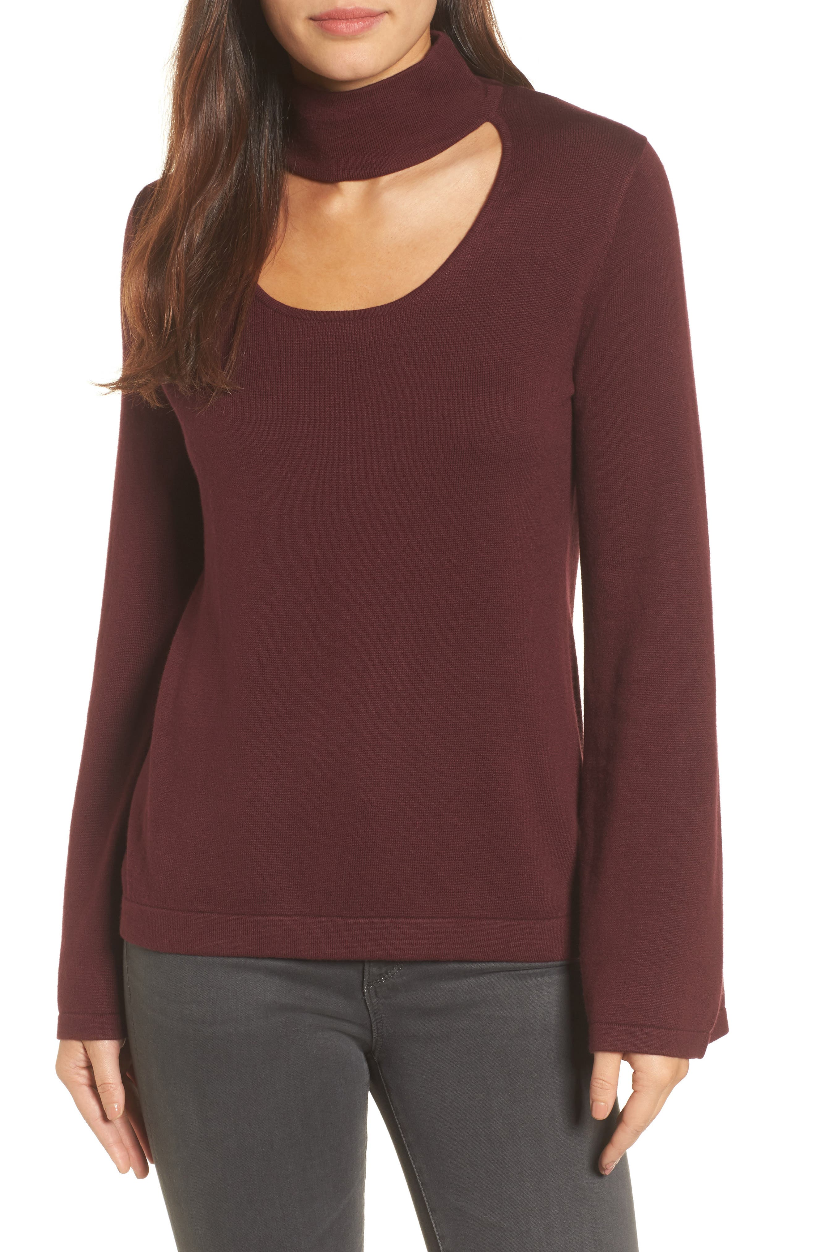 Alternate Image 1 Selected - Vince Camuto Bell Sleeve Choker Neck Sweater (Regular & Petite)