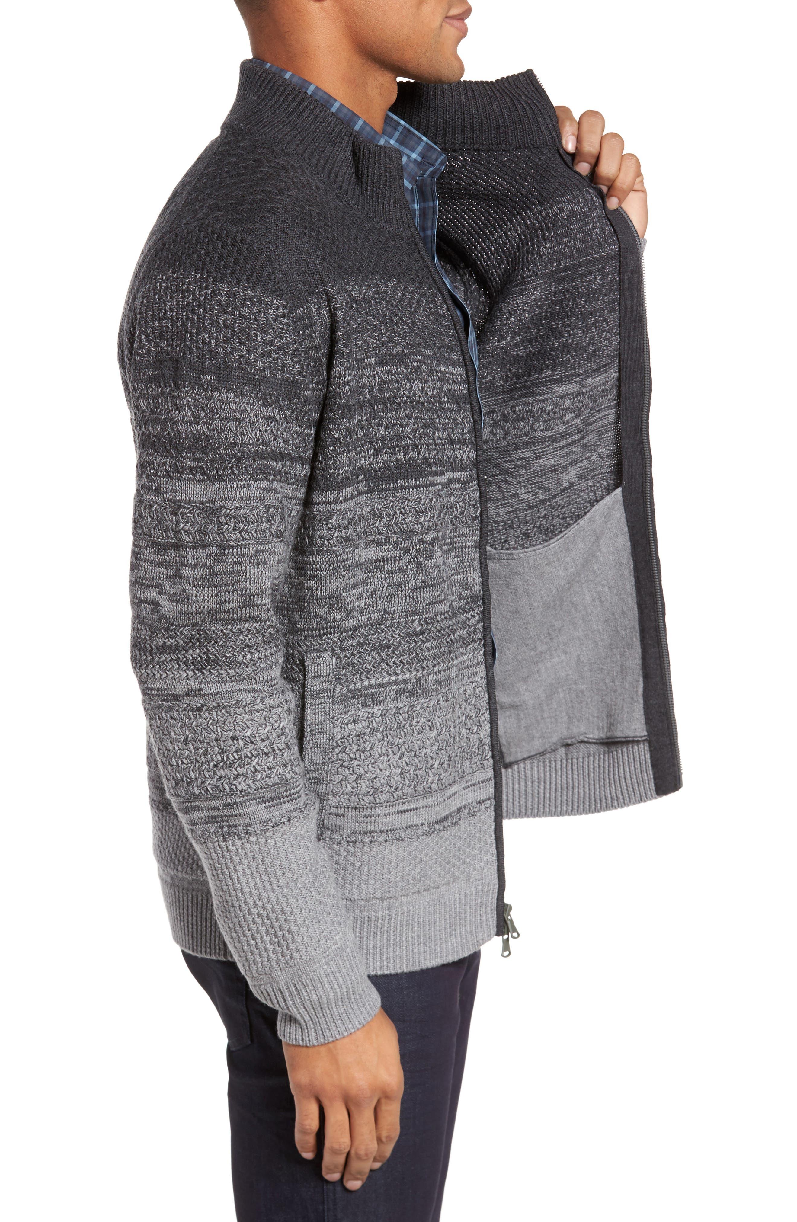 Hawkins Degrade Merino Full Zip Cardigan,                             Alternate thumbnail 3, color,                             Grey