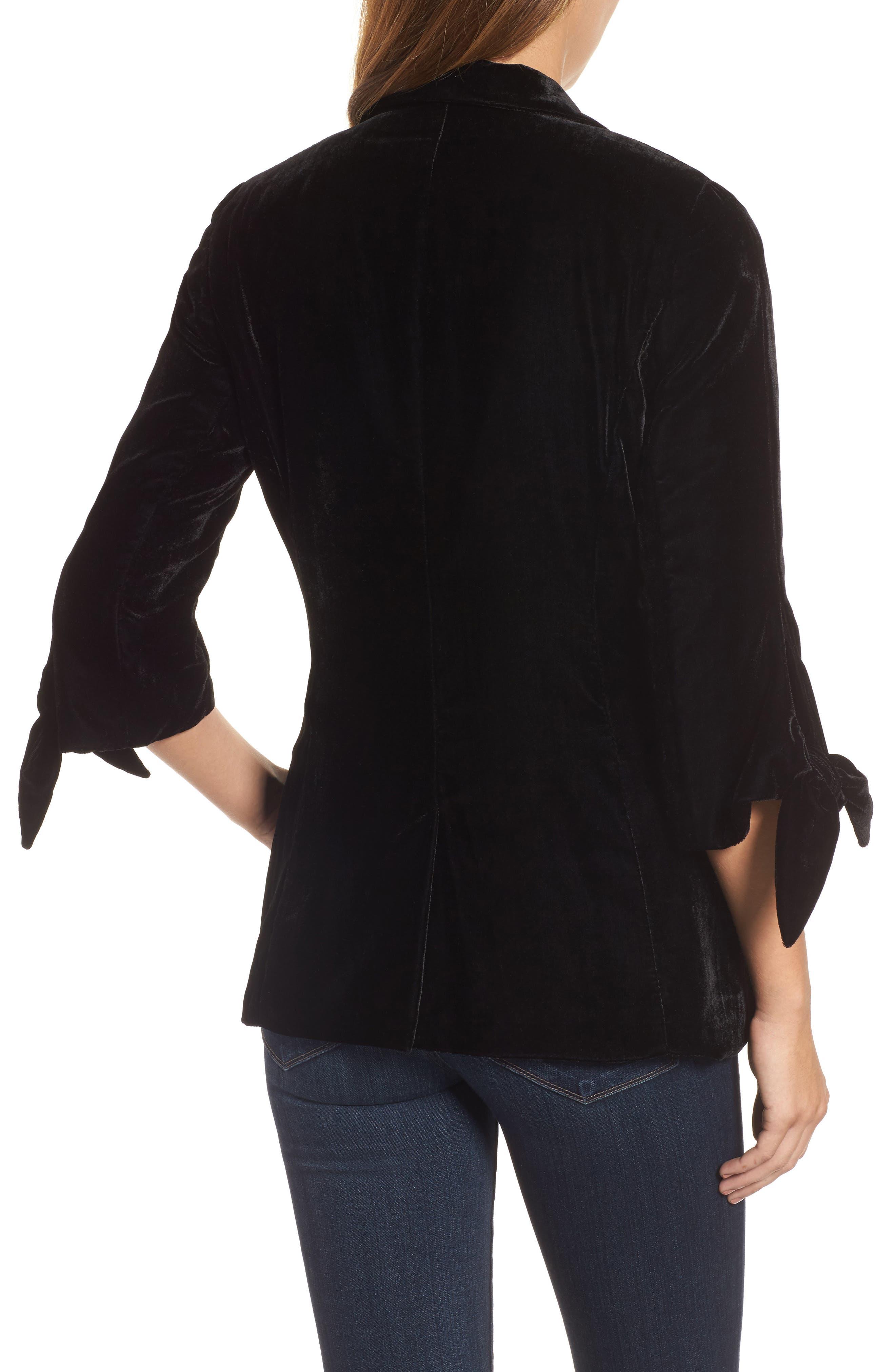 Tie Sleeve Velvet Blazer,                             Alternate thumbnail 3, color,                             Black