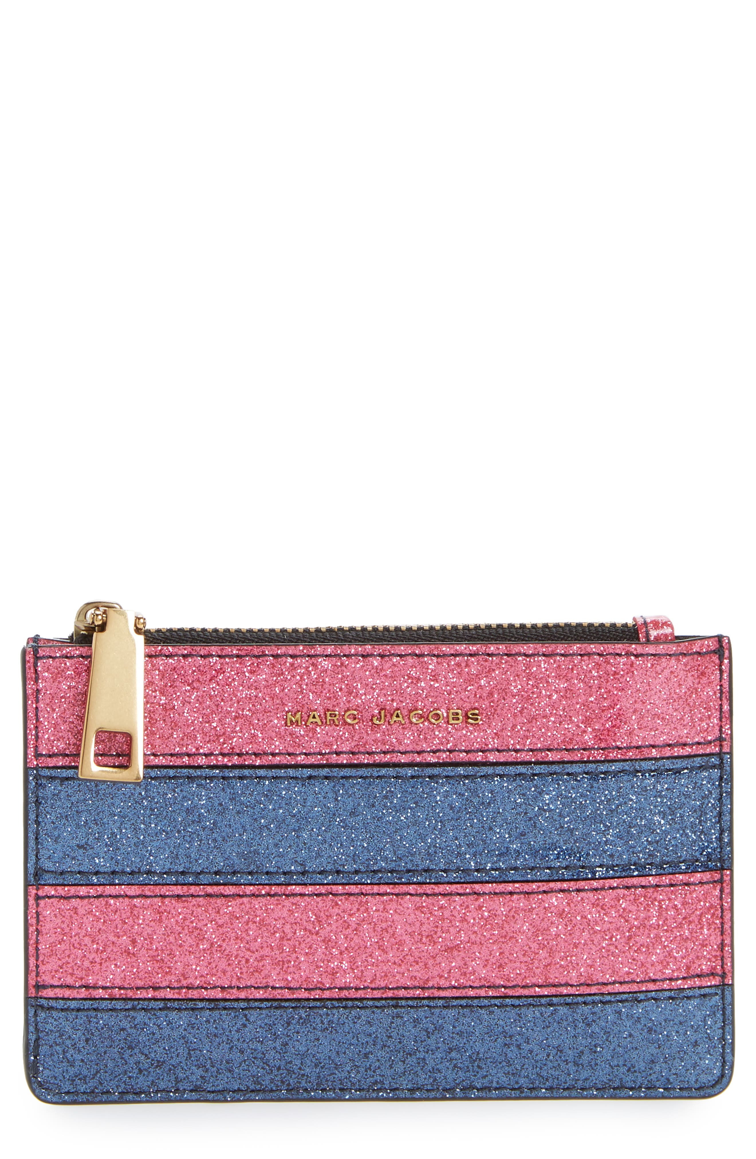 Glitter Stripe Leather Wallet,                             Main thumbnail 1, color,                             Pink Multi