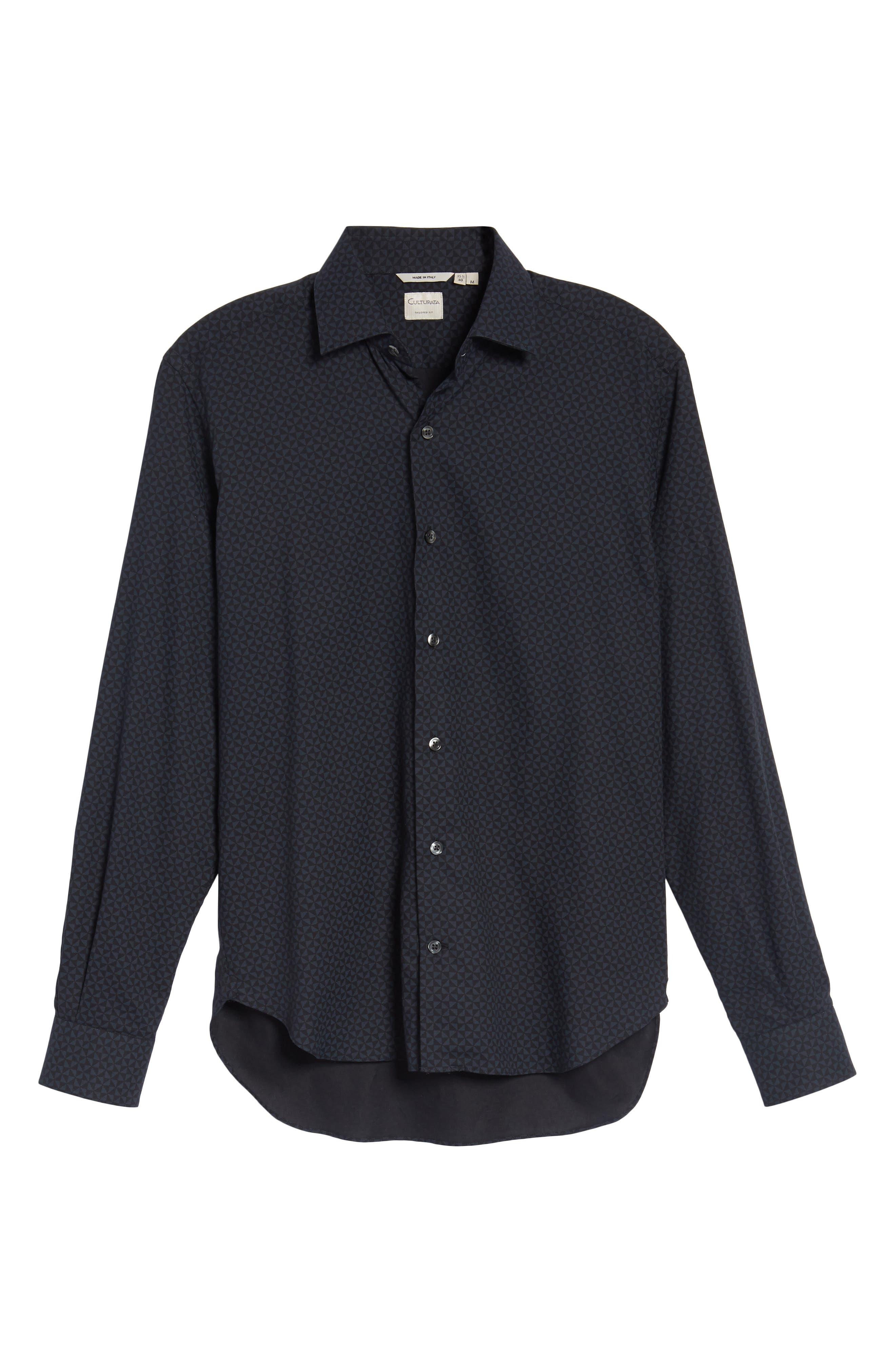 Slim Fit Geo Print Twill Sport Shirt,                             Alternate thumbnail 6, color,                             Black