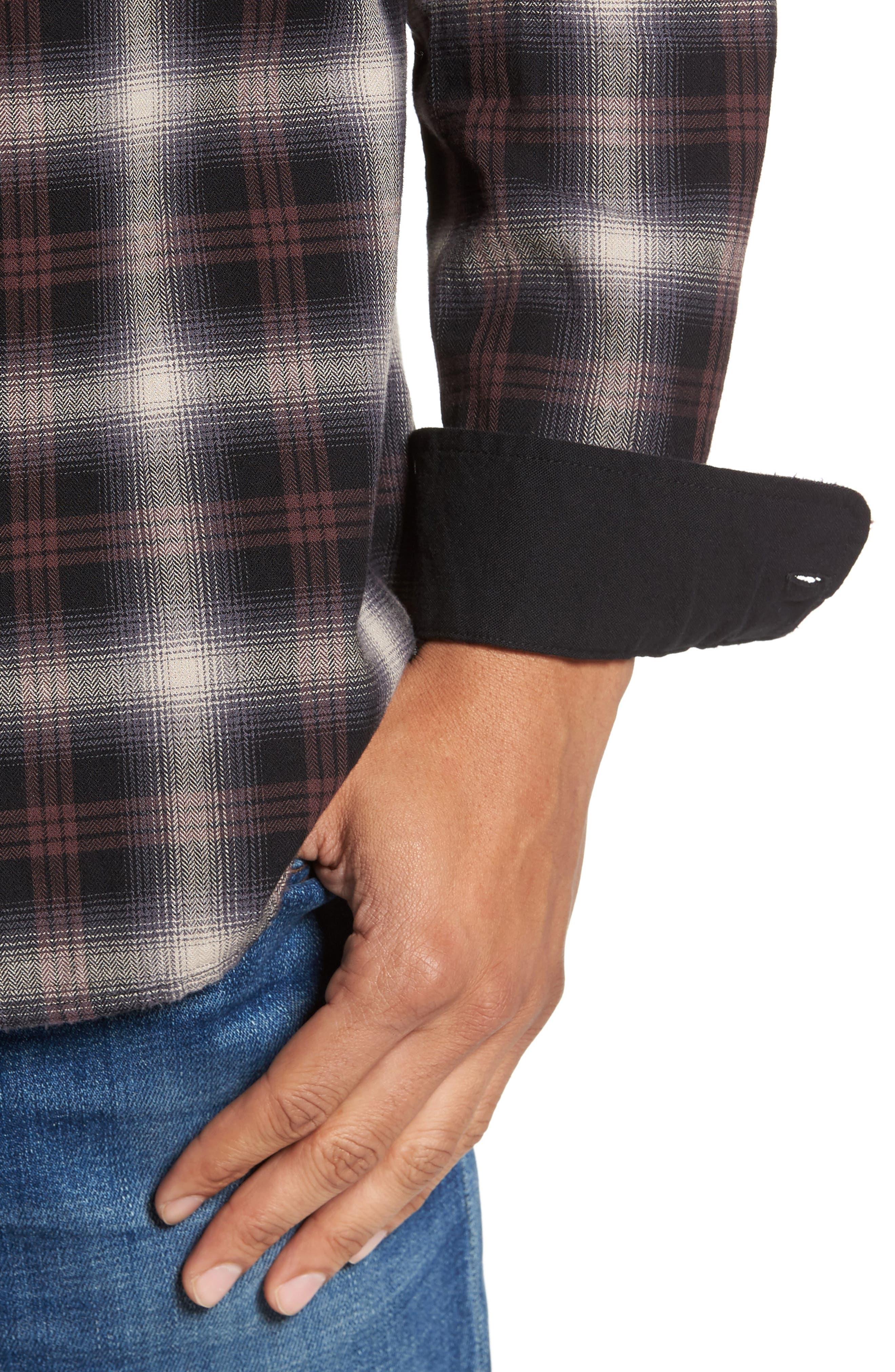 Colton Slim Fit Plaid Sport Shirt,                             Alternate thumbnail 4, color,                             7 Years Beige/ Deep Mahogany