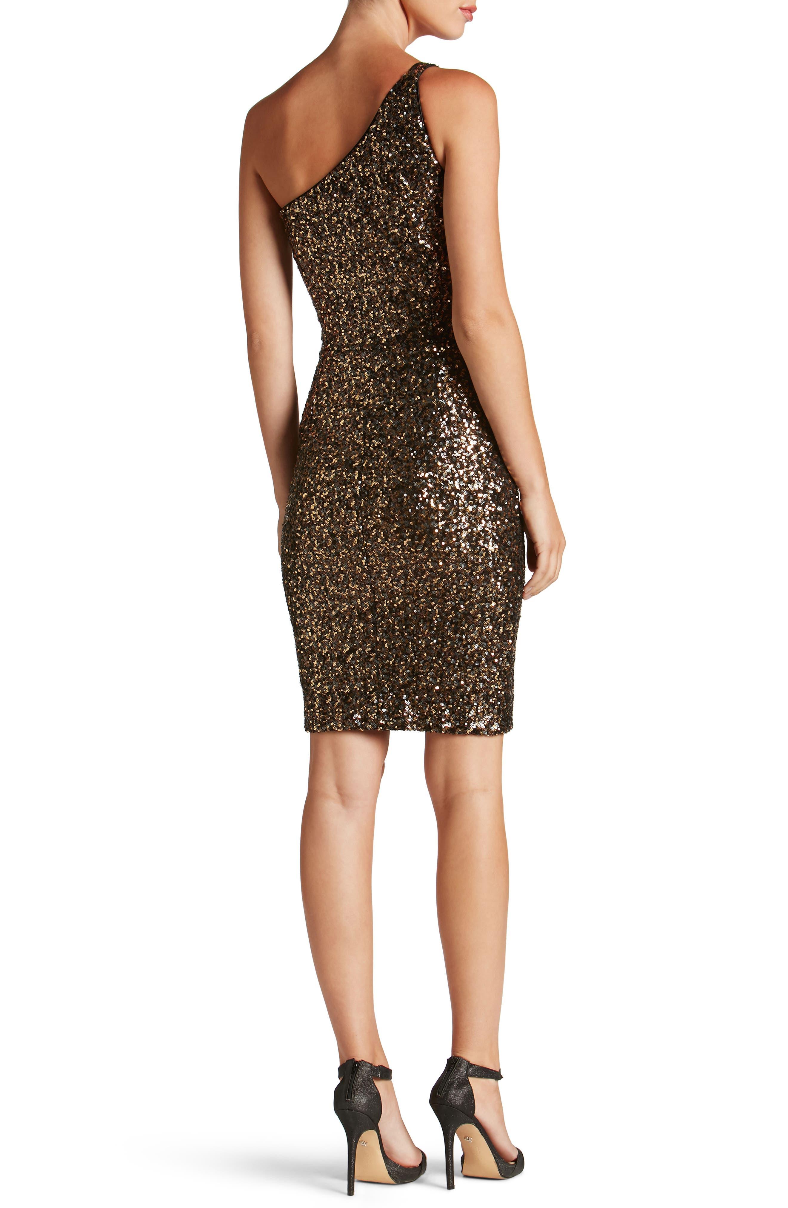 Cher One-Shoulder Sequin Body-Con Dress,                             Alternate thumbnail 3, color,                             Antique Gold