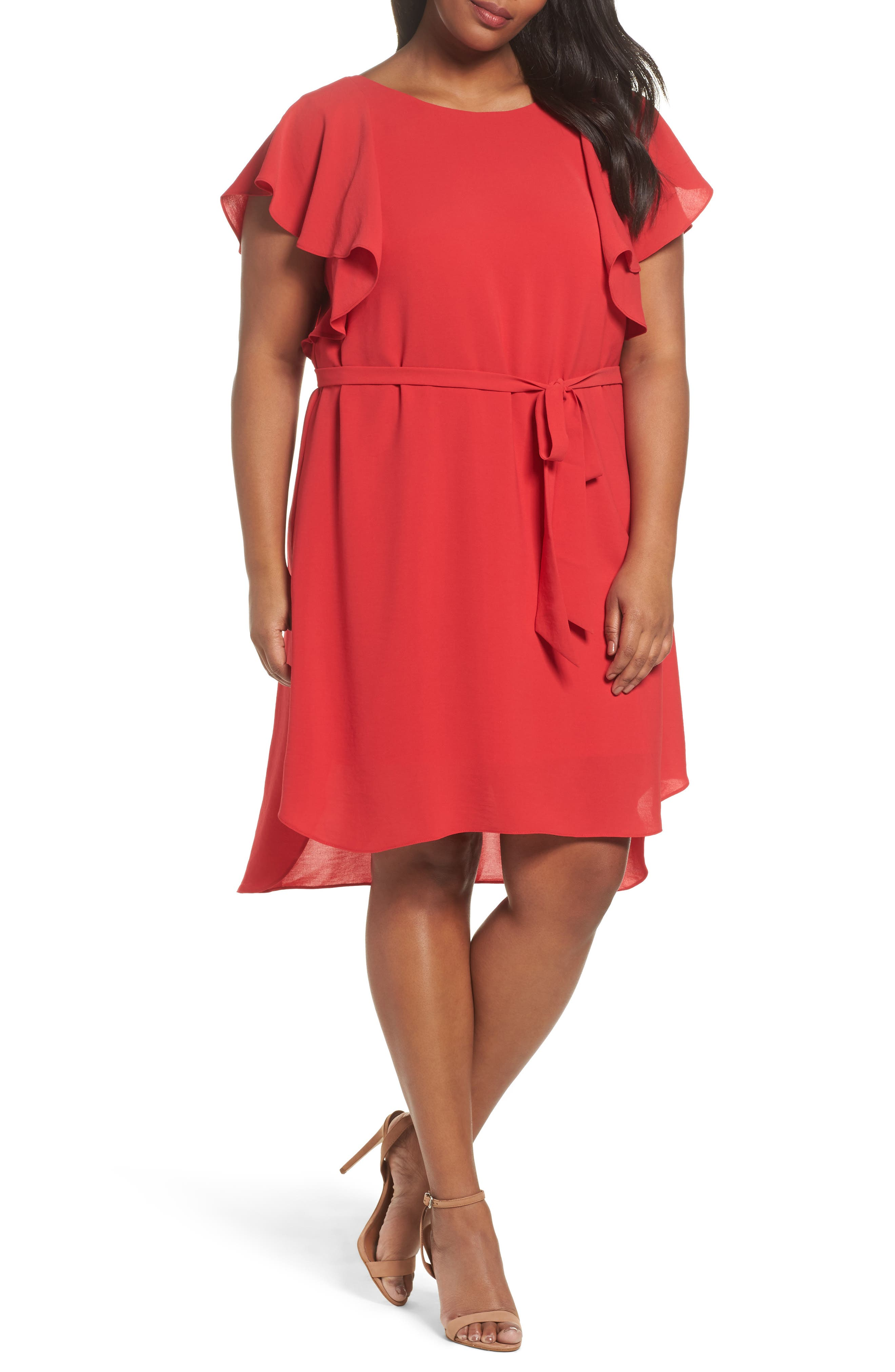 Crepe Flutter Sleeve Dress,                         Main,                         color, Red Fire