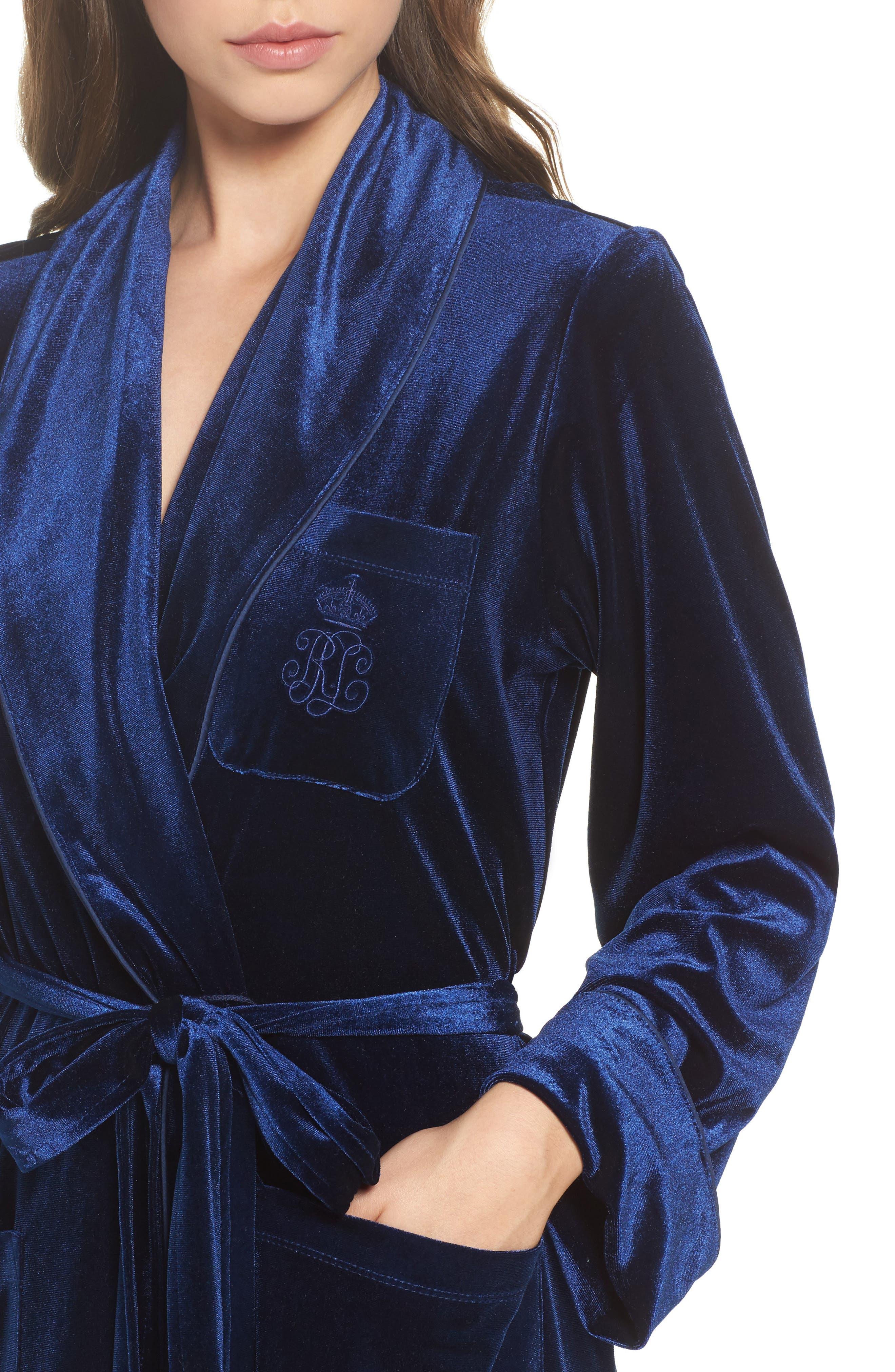 Shawl Collar Velvet Robe,                             Alternate thumbnail 5, color,                             Navy