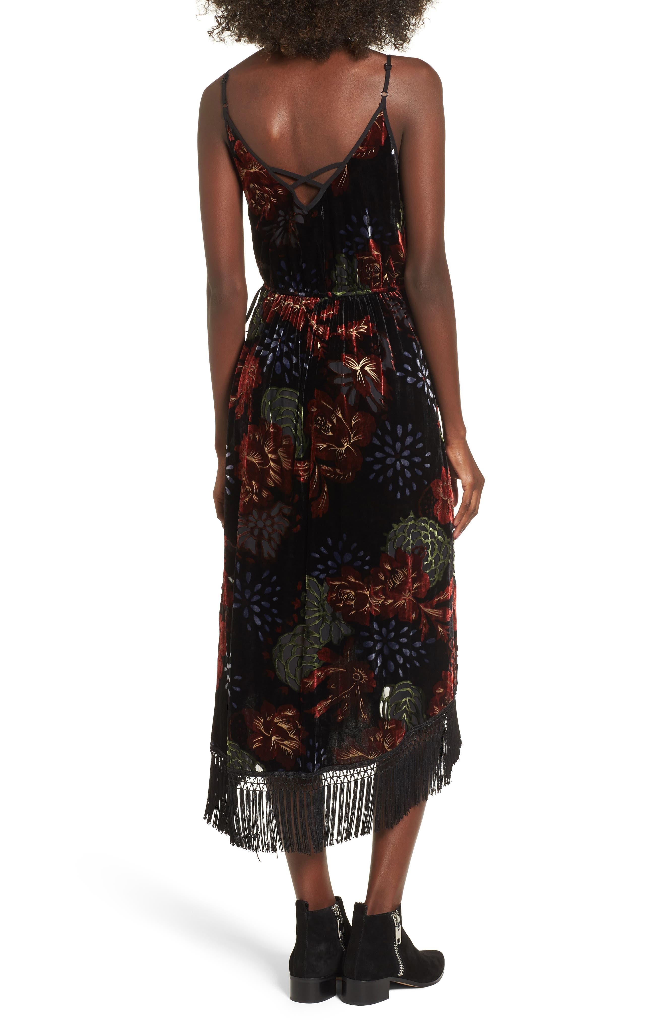 Romantic Burnout Wrap Dress,                             Alternate thumbnail 2, color,                             Black Brick