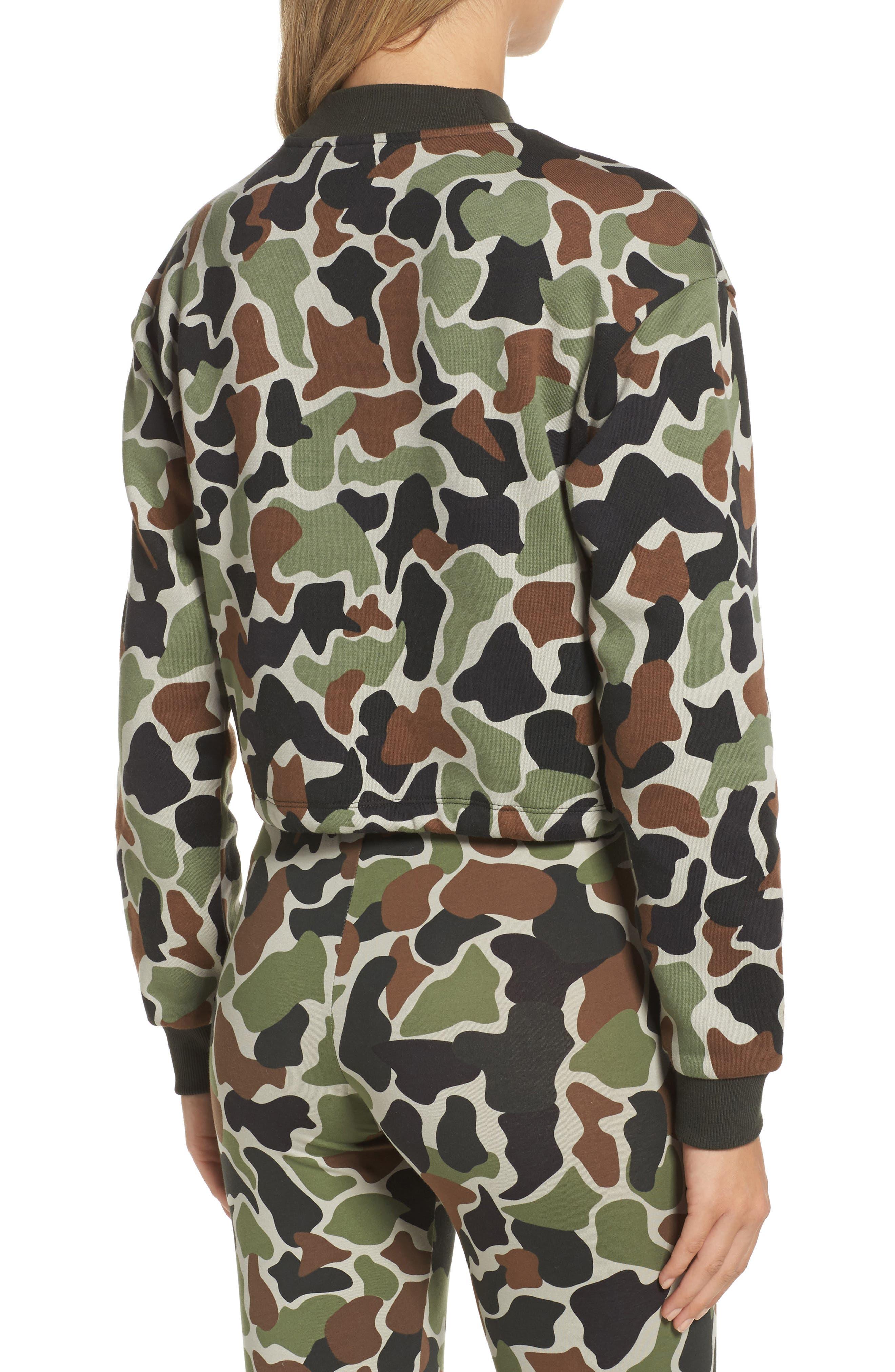 Alternate Image 2  - adidas Camo Print Drawstring Crop Sweatshirt
