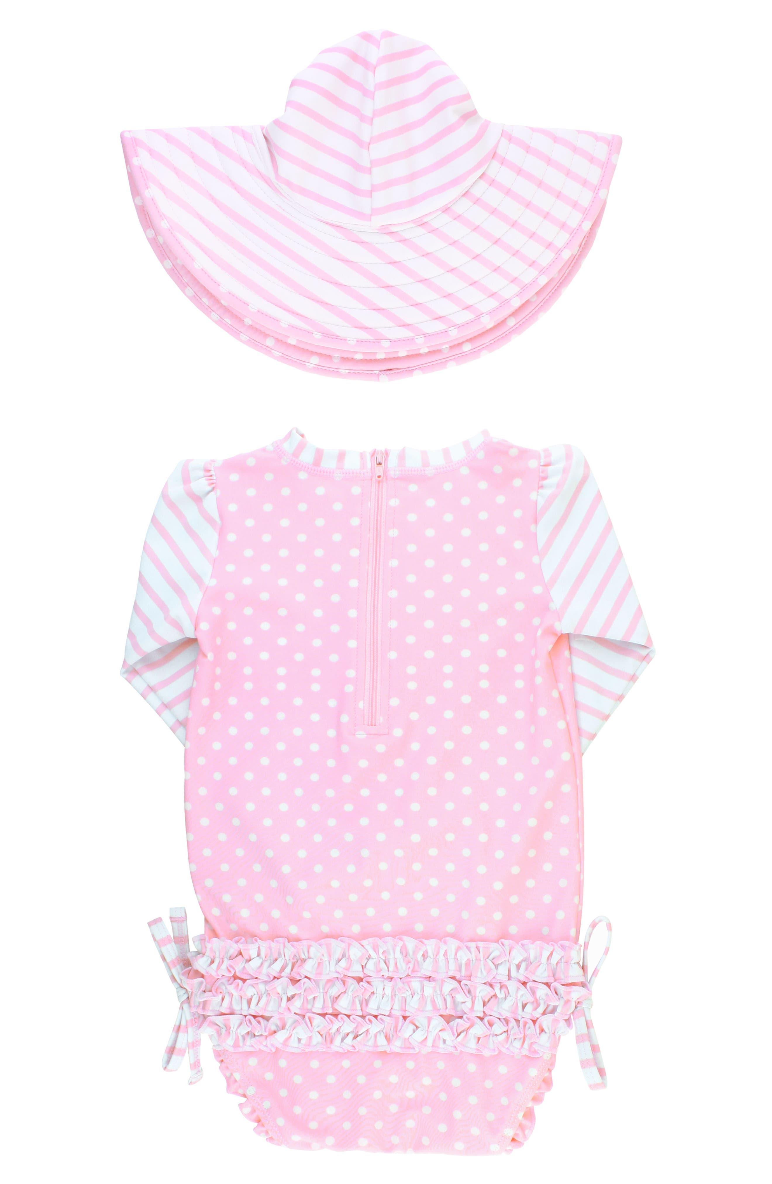 Ruffle Butts Polka Dot One-Piece Rashguard Swimsuit & Sun Hat Set,                             Alternate thumbnail 2, color,                             Pink