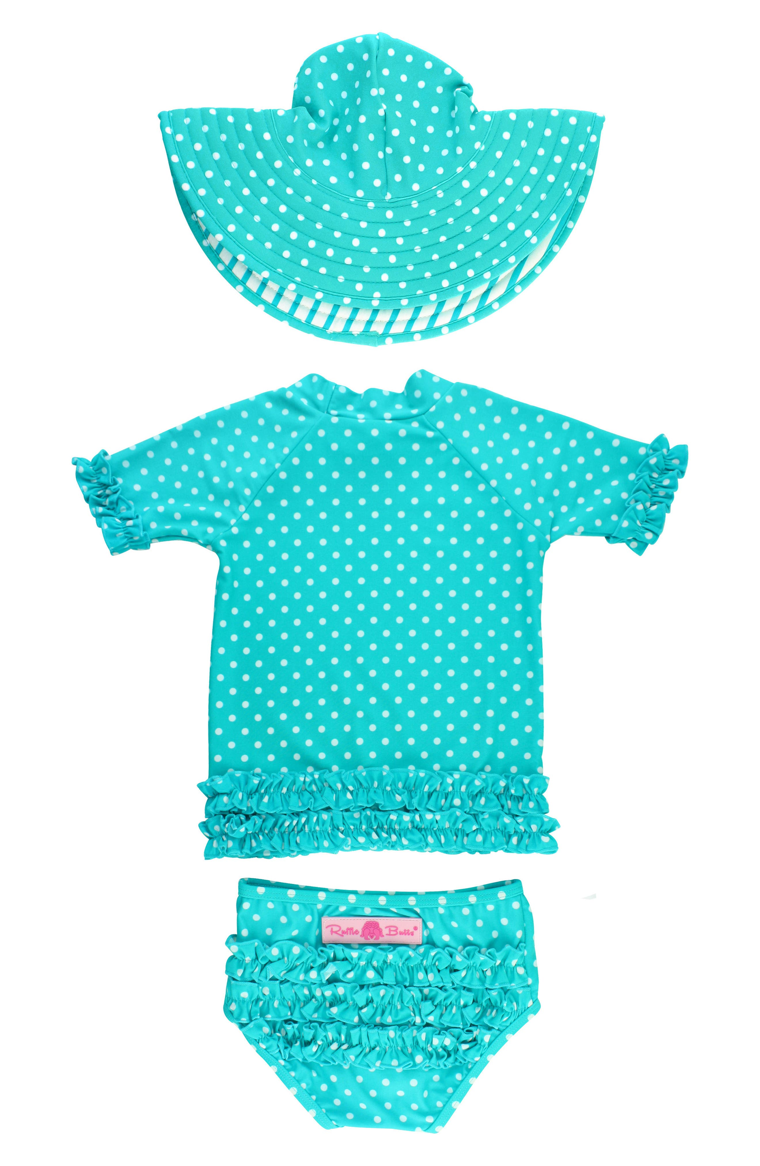 One-Piece Rashguard Swimsuit & Hat Set,                             Alternate thumbnail 2, color,                             Aqua