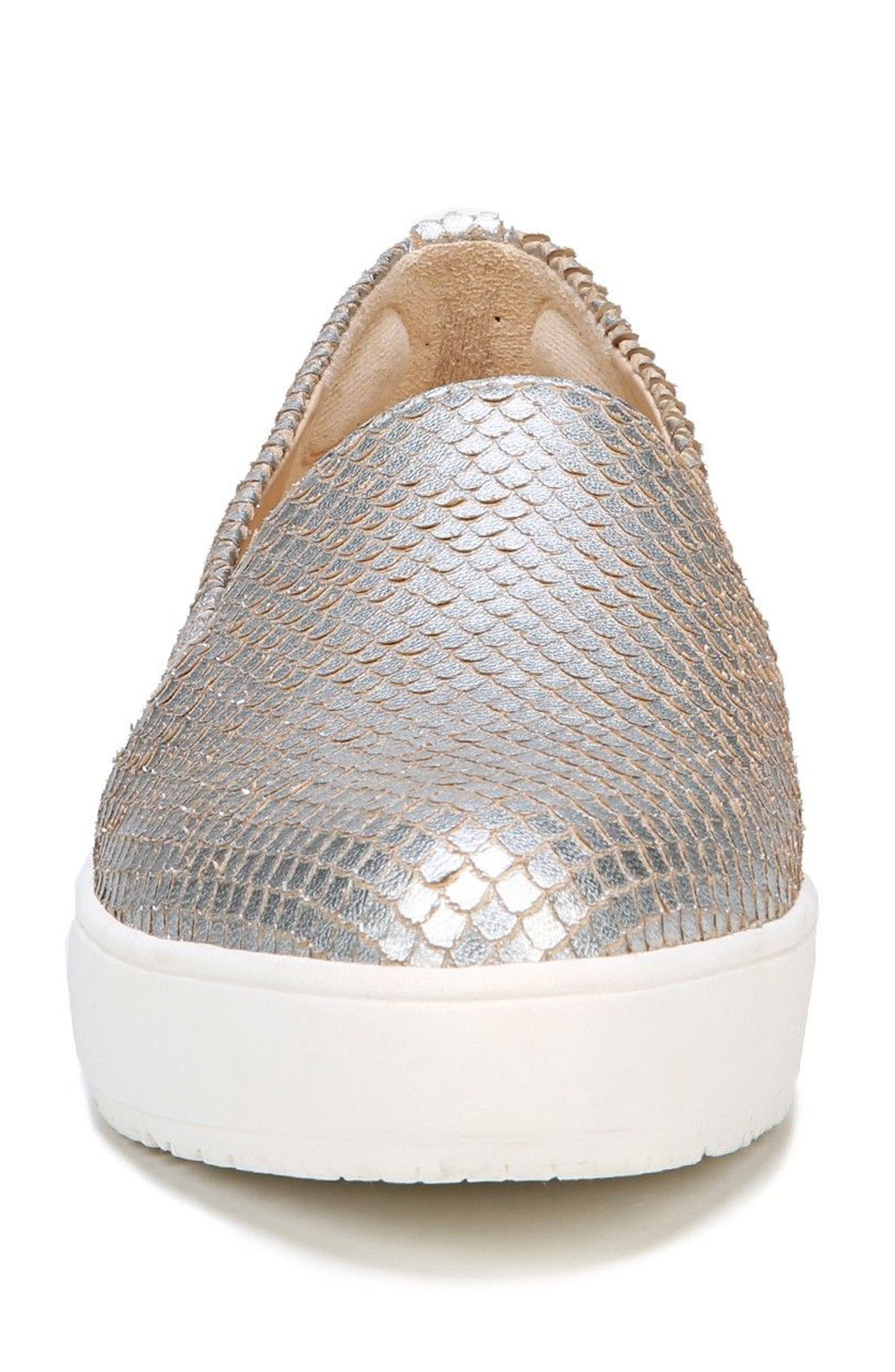 Bradyn Slip-On Sneaker,                             Alternate thumbnail 4, color,                             Silver Leather