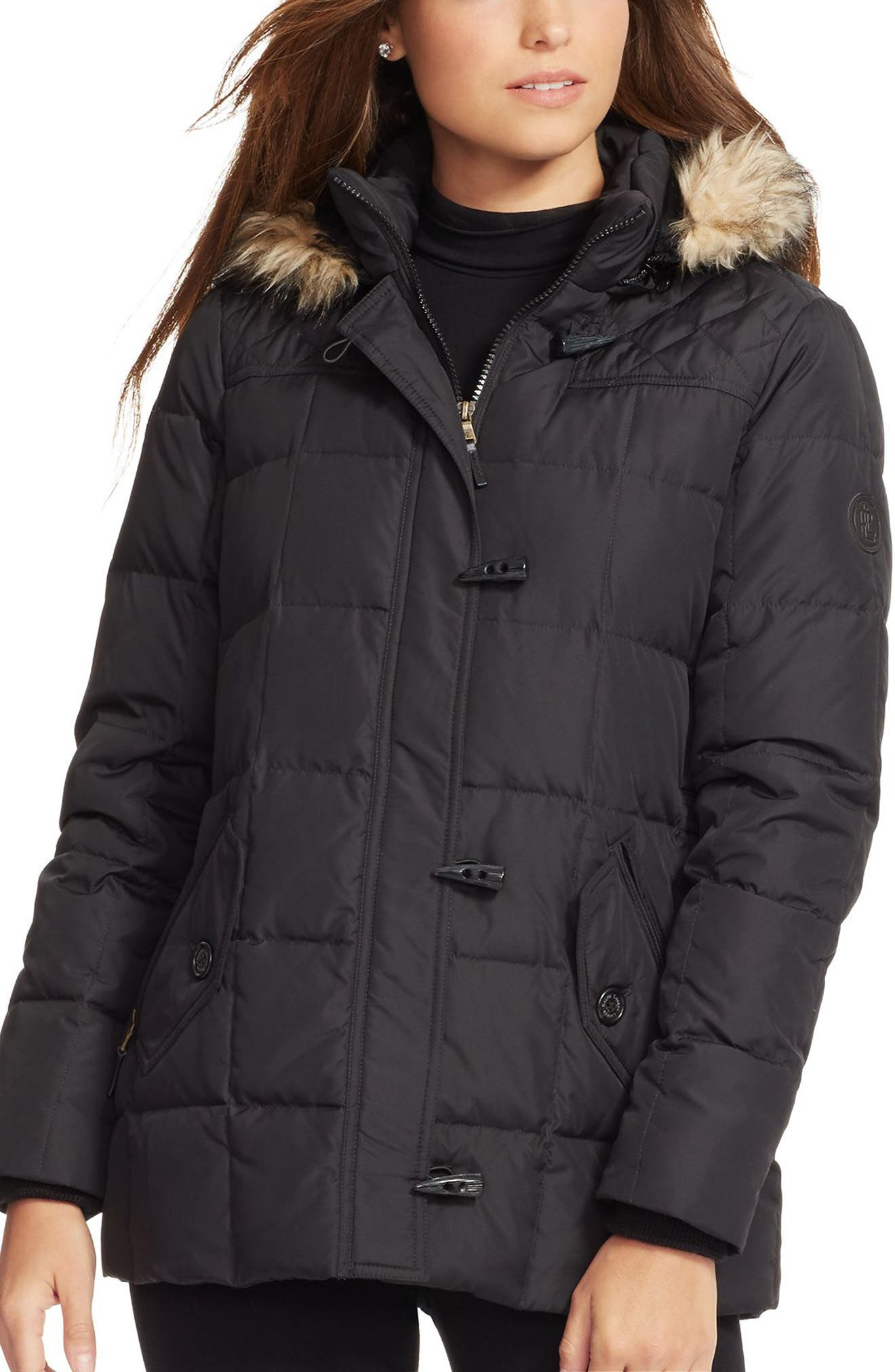Lauren Ralph Lauren Faux Fur Trim Down & Feather Fill Toggle Coat