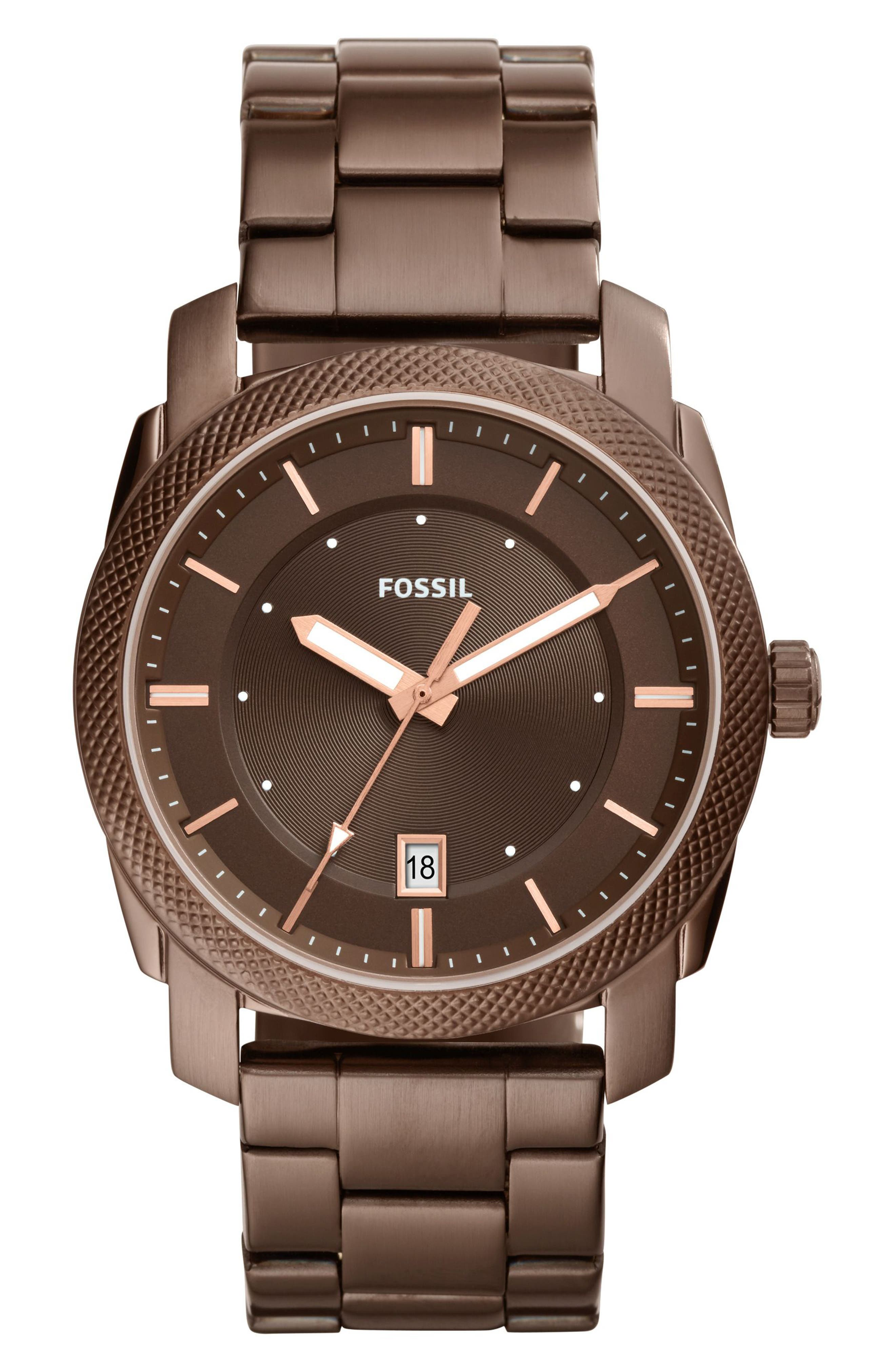 Alternate Image 1 Selected - Fossil Machine Bracelet Watch, 42mm