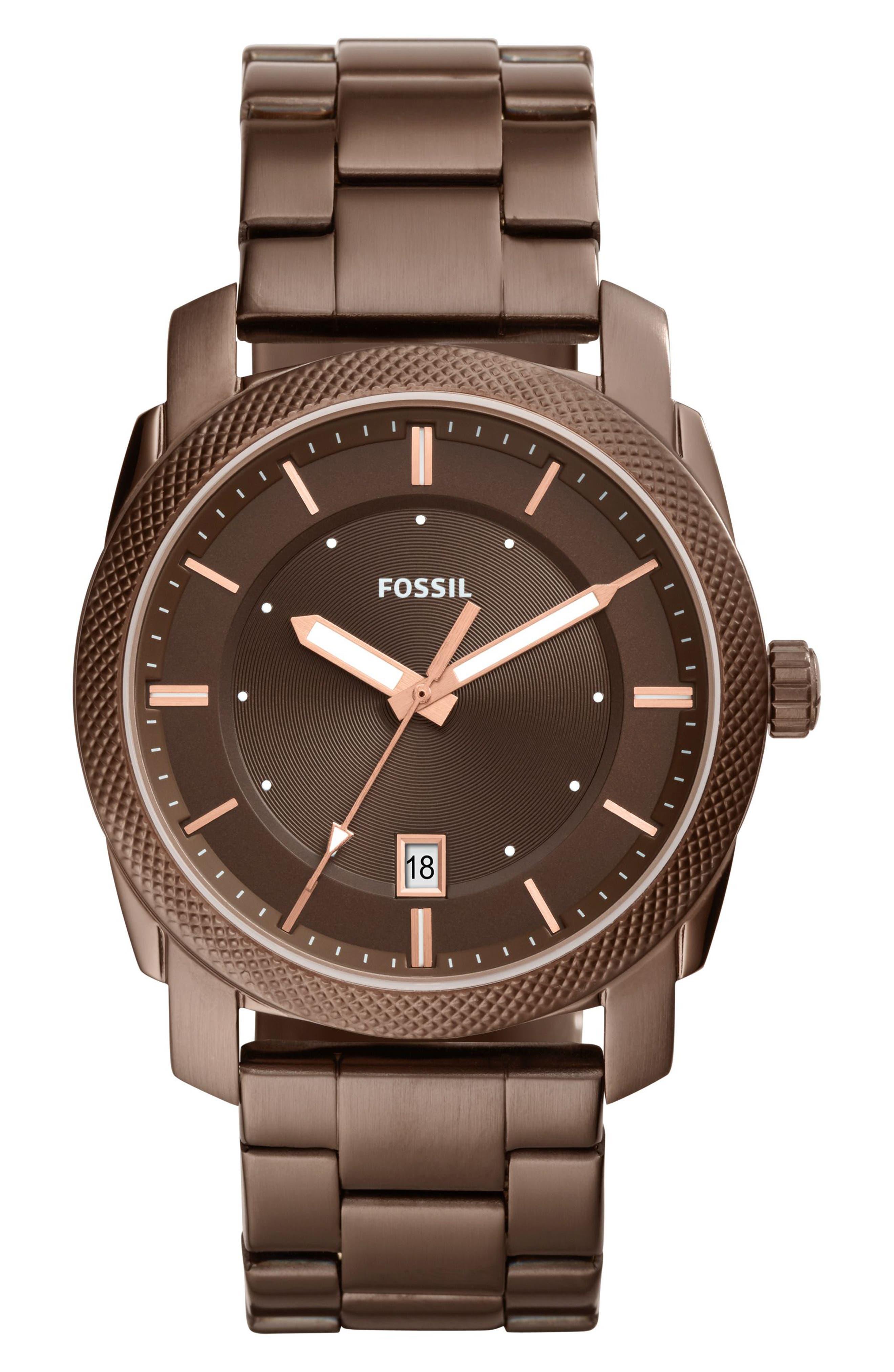Machine Bracelet Watch, 42mm,                             Main thumbnail 1, color,                             Brown