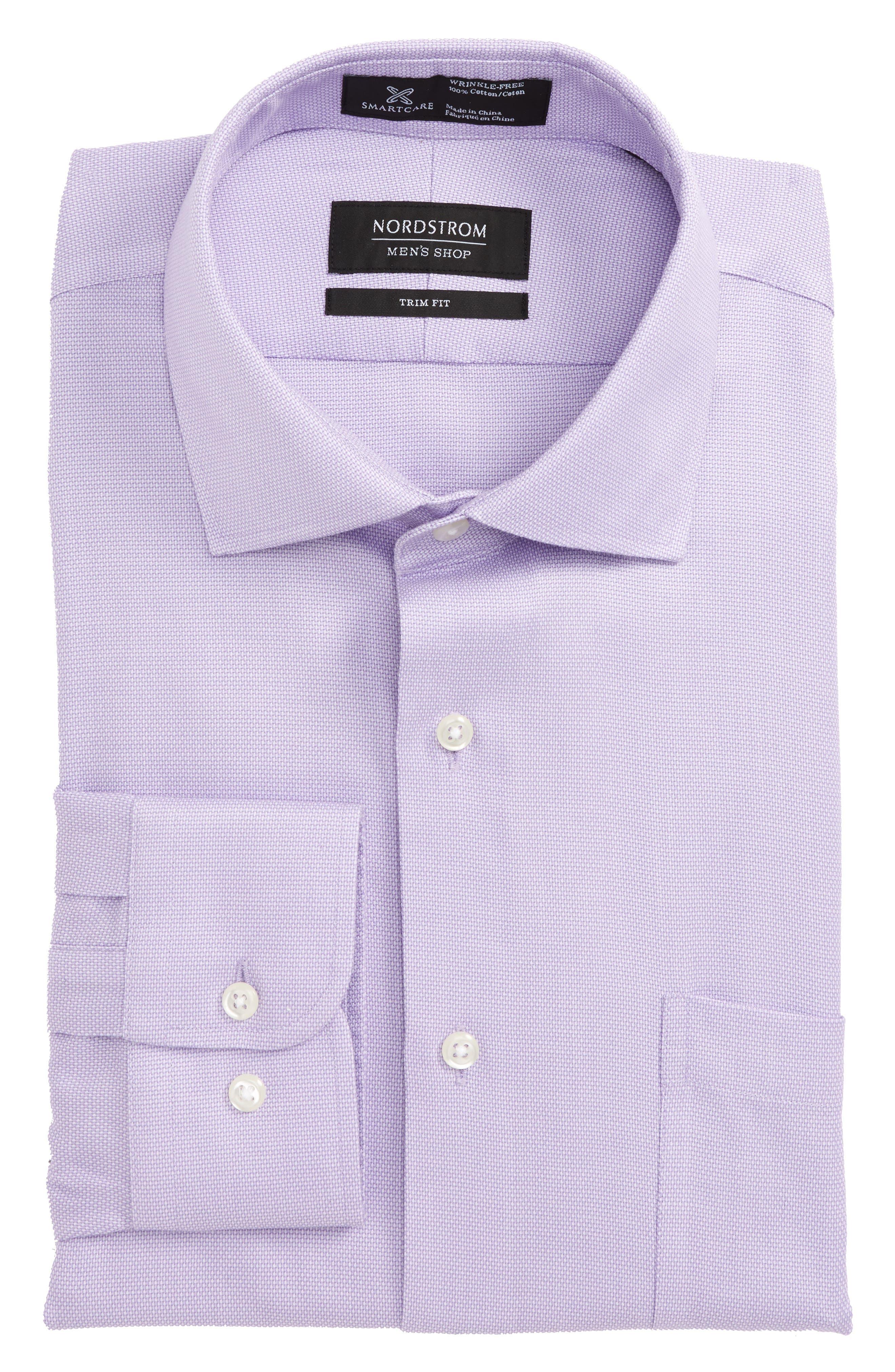 Smartcare<sup>™</sup> Trim Fit Oxford Dress Shirt,                             Main thumbnail 1, color,                             Purple Bonnet