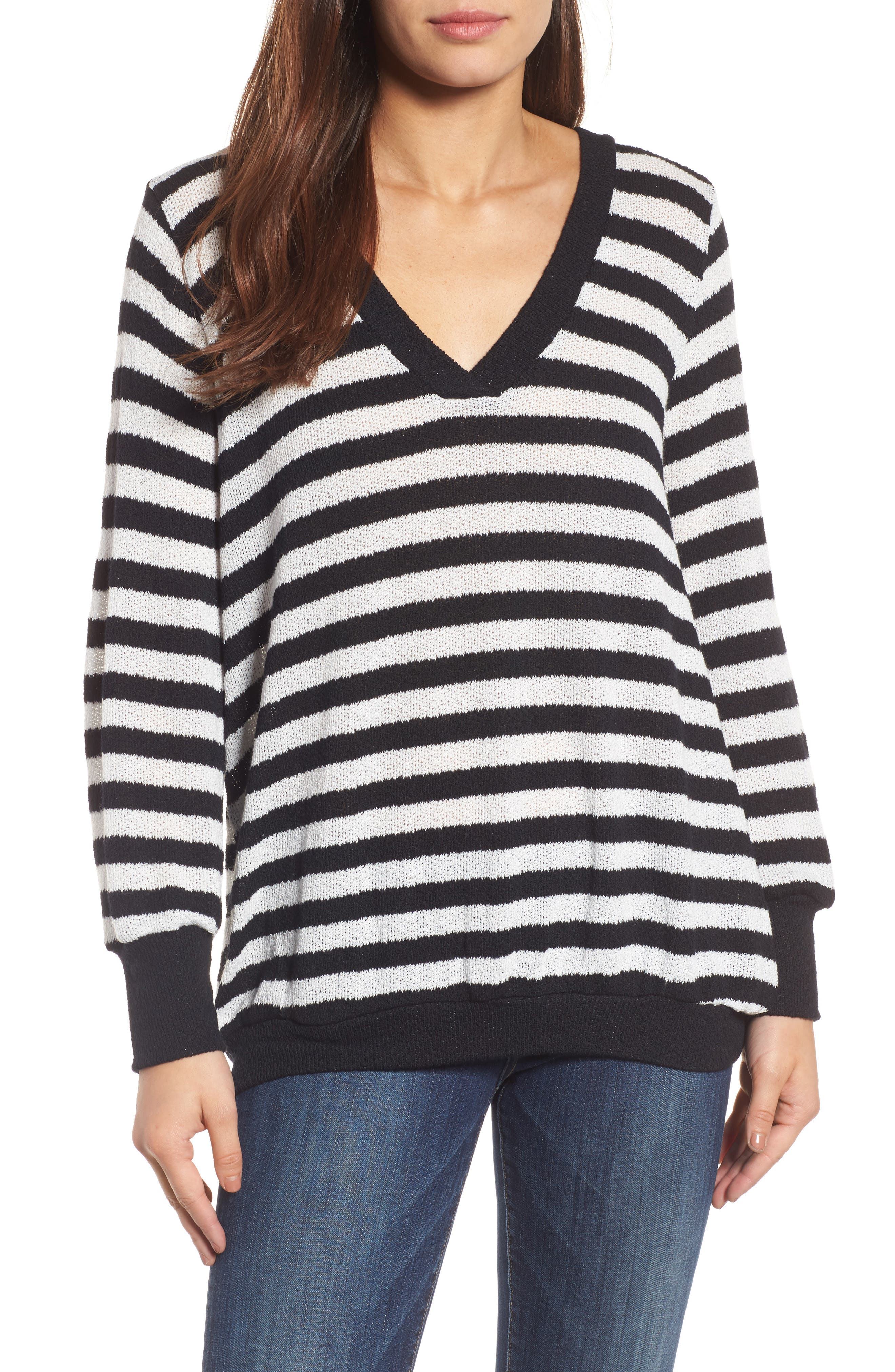 Double V-Neck Relaxed Pullover,                         Main,                         color, Black- White Even Stripe